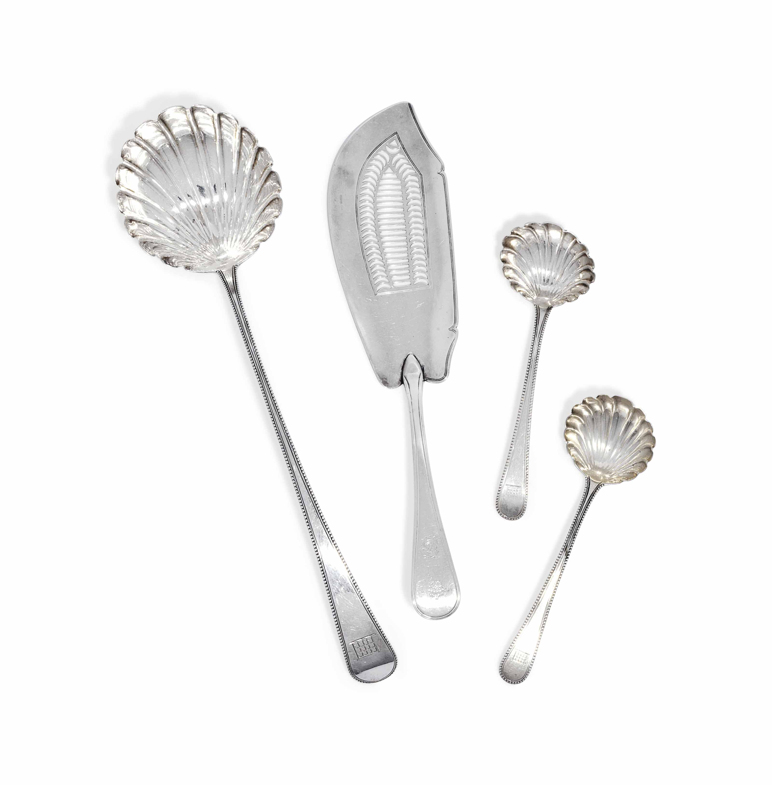 A GEORGE III SILVER BEAD-EDGE SOUP LADLE AND A PAIR OF SAUCE LADLES EN SUITE
