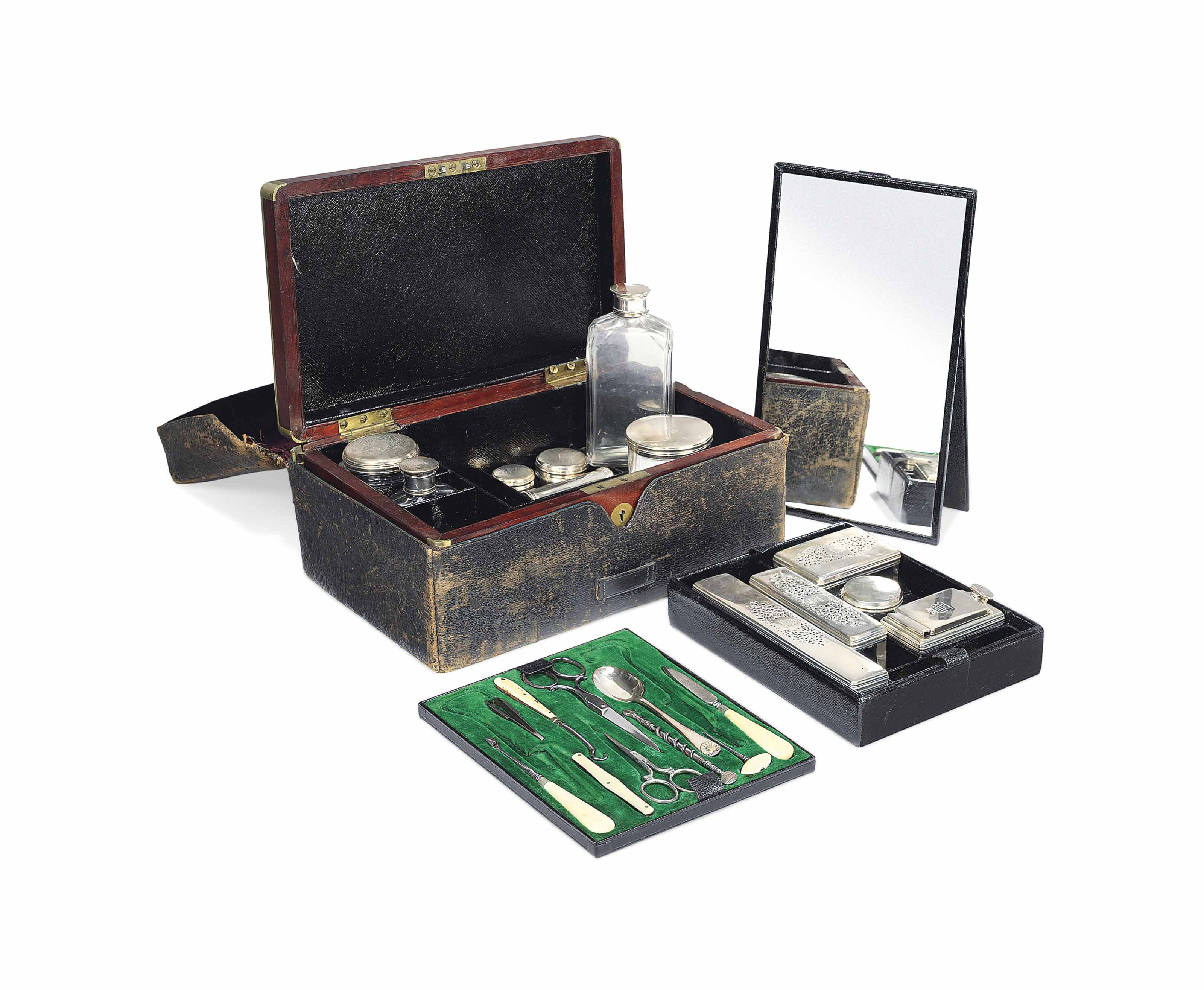 A VICTORIAN SILVER-MOUNTED GLASS DRESSING-TABLE SET