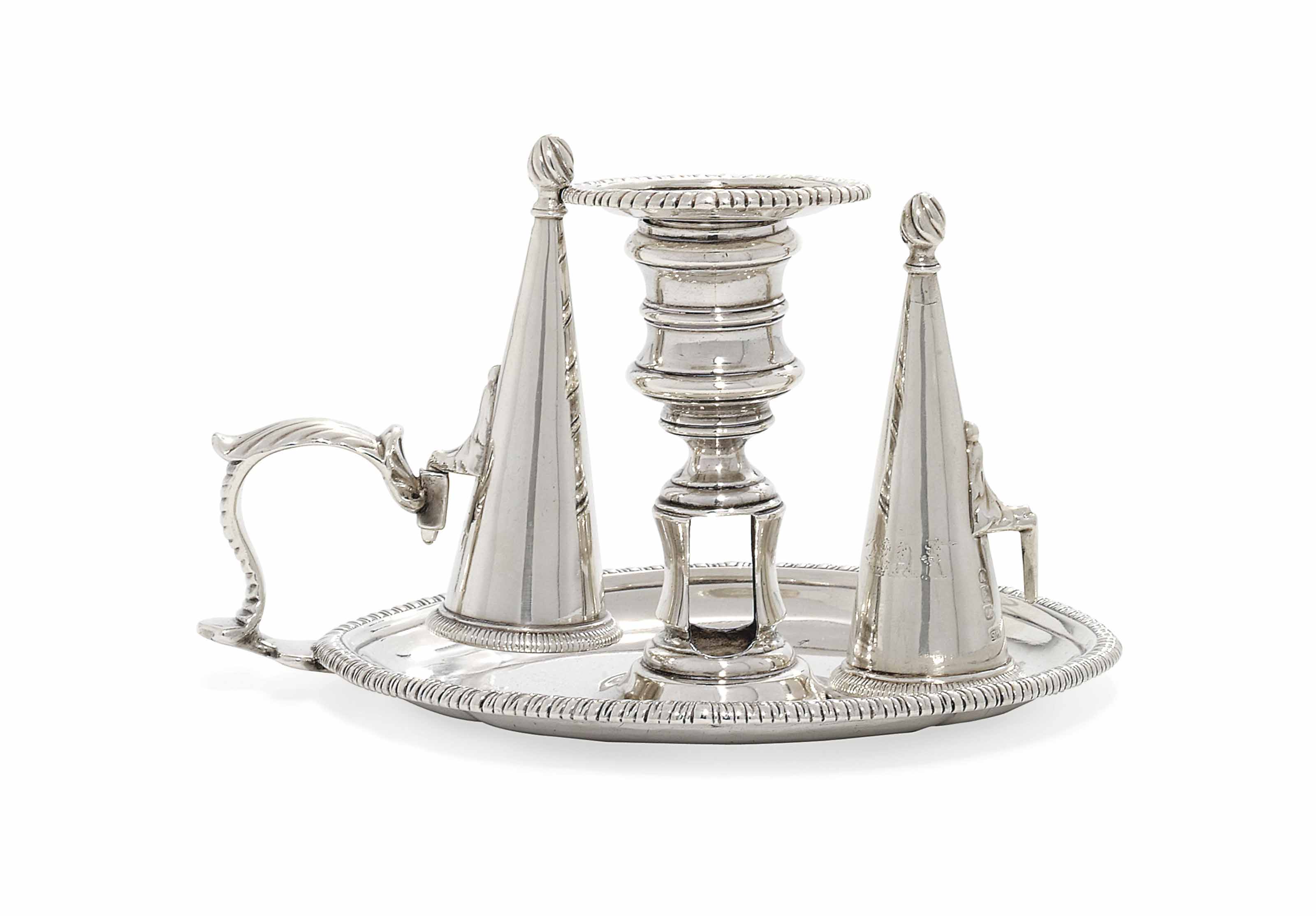 A GEORGE III SILVER CHAMBER-CANDLESTICK