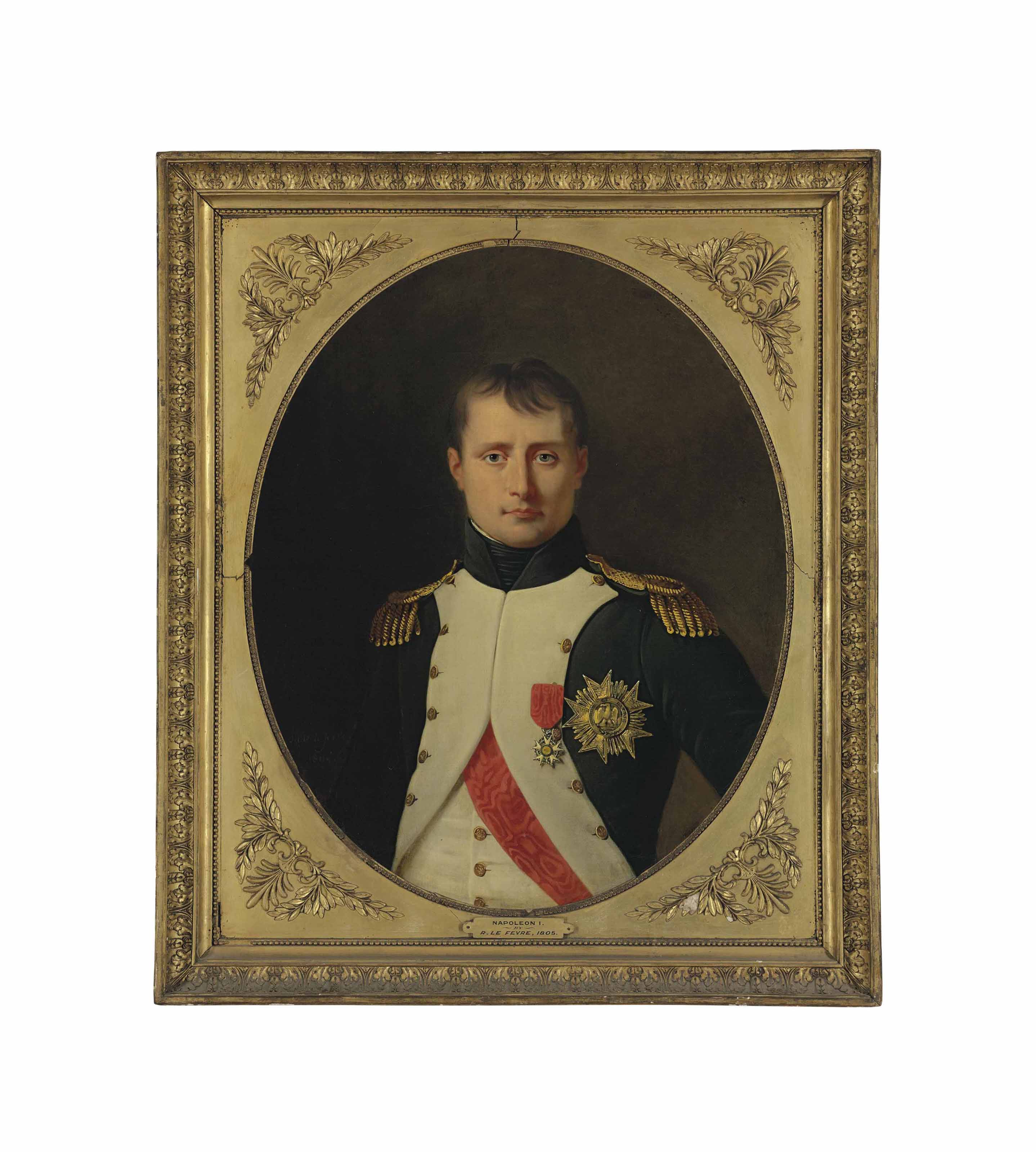 Portrait of Emperor Napoleon (1769-1821), half-length, as Colonel of the Foot Grenadiers of the Imperial Guard, wearing the cross and Grand Eagle of the Légion d'Honneur, in a painted oval