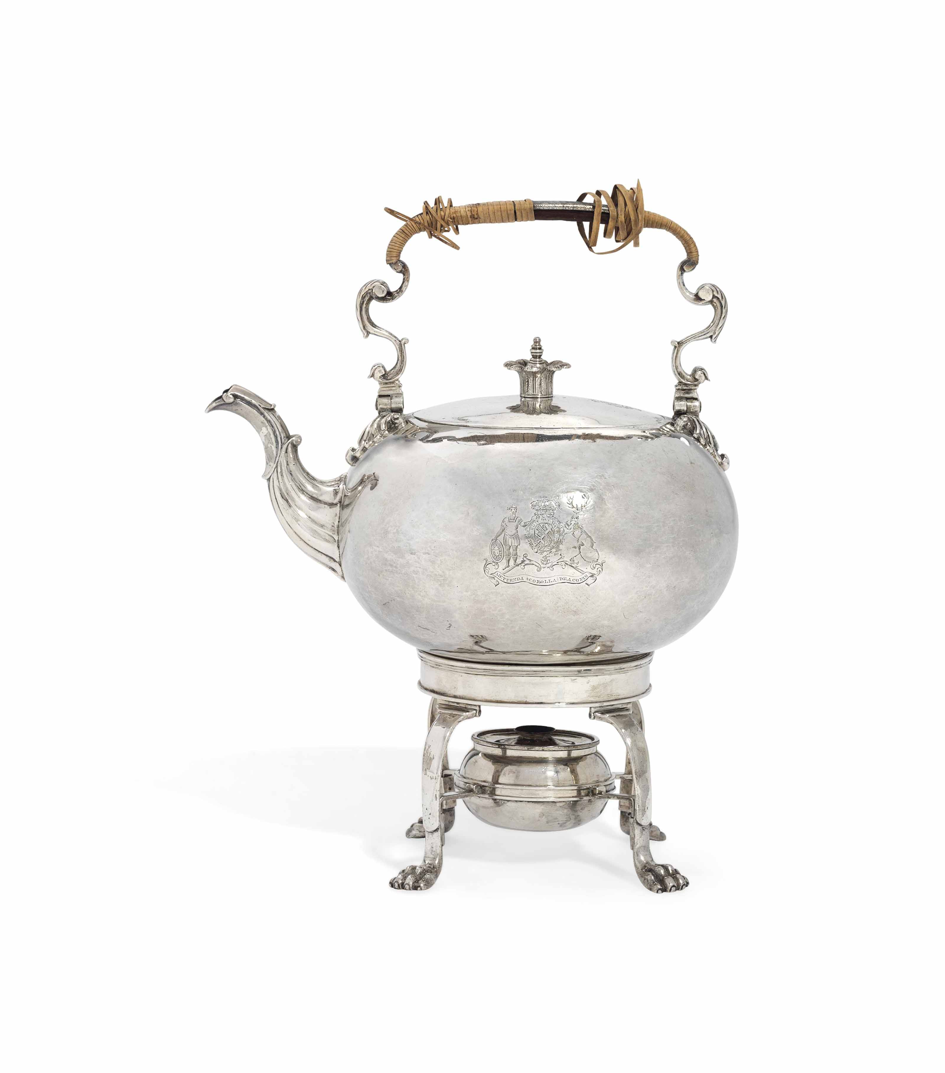 A GEORGE III SILVER TRAVELLING TEA KETTLE, STAND AND LAMP