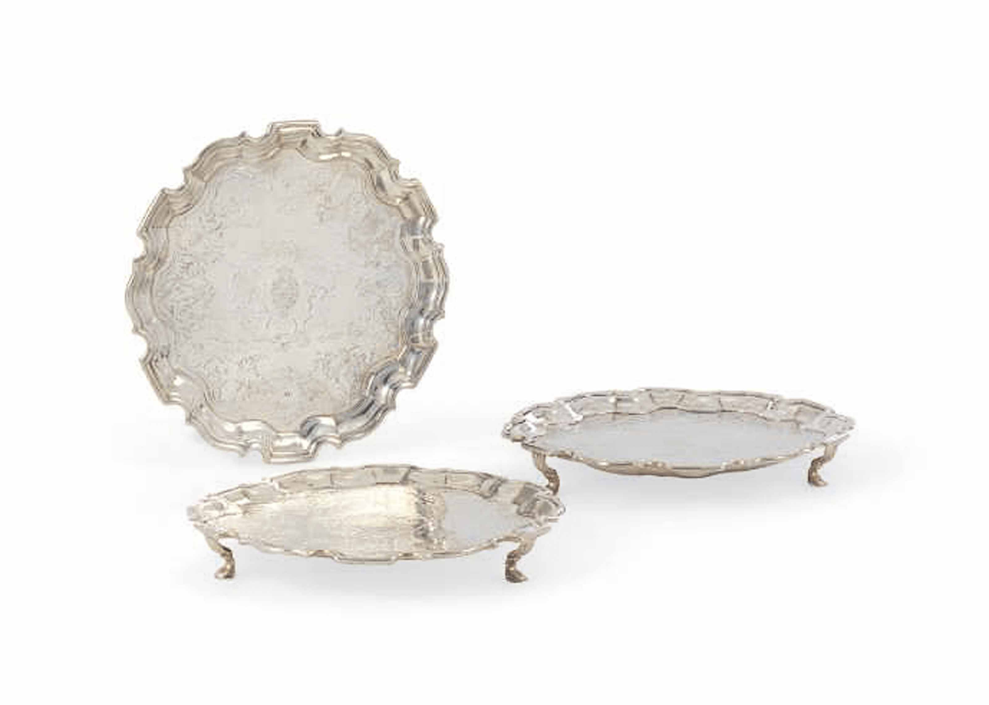 A SET OF THREE GEORGE II WAITERS