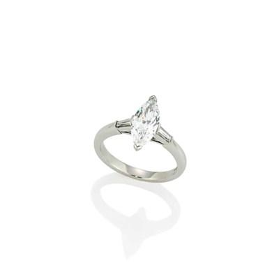A PLATINUM SINGLE-STONE DIAMON