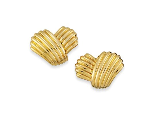 A PAIR OF FLUTED EAR CLIPS, BY