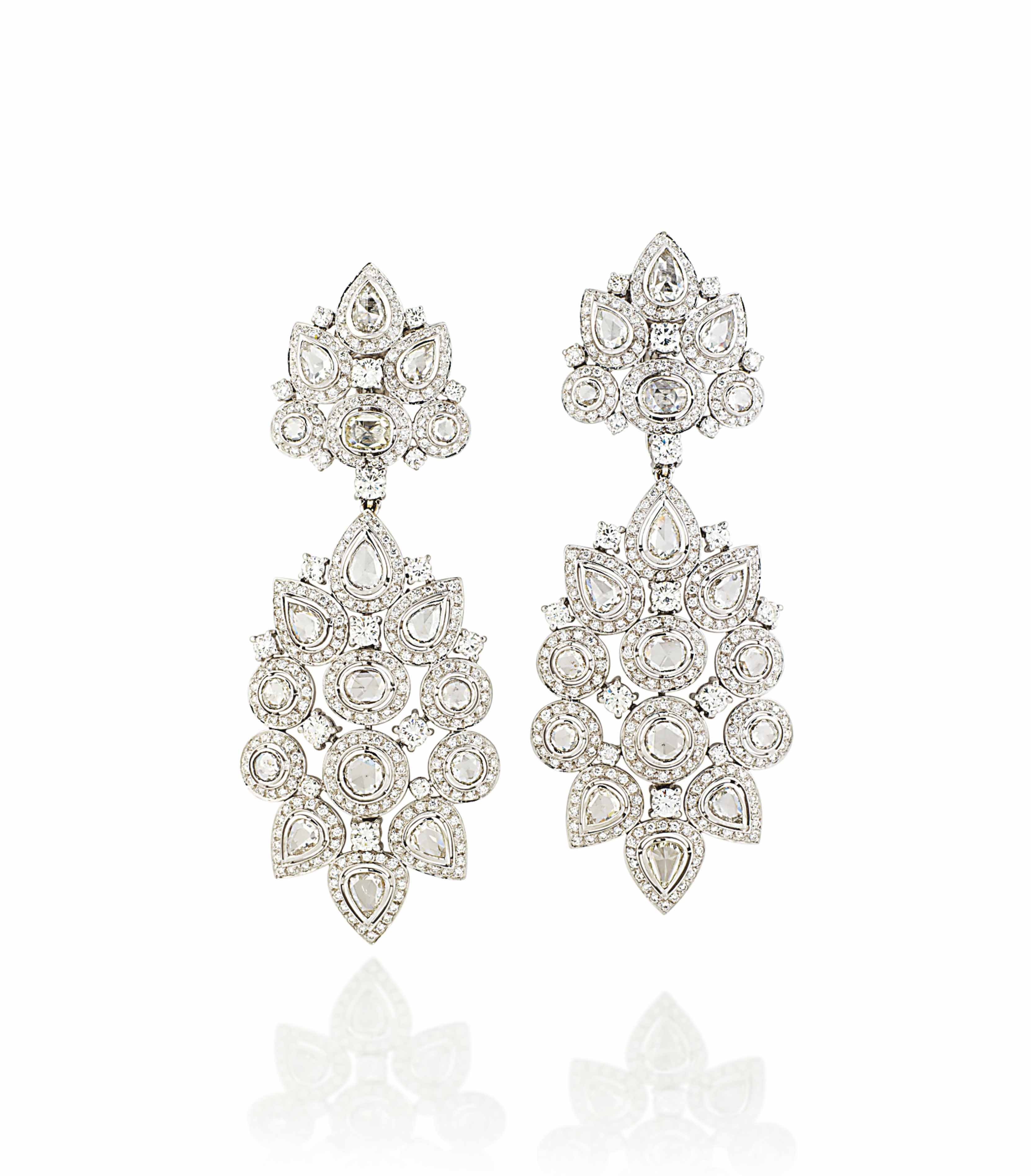 A PAIR OF DIAMOND EAR PENDANTS, BY REPOSSI