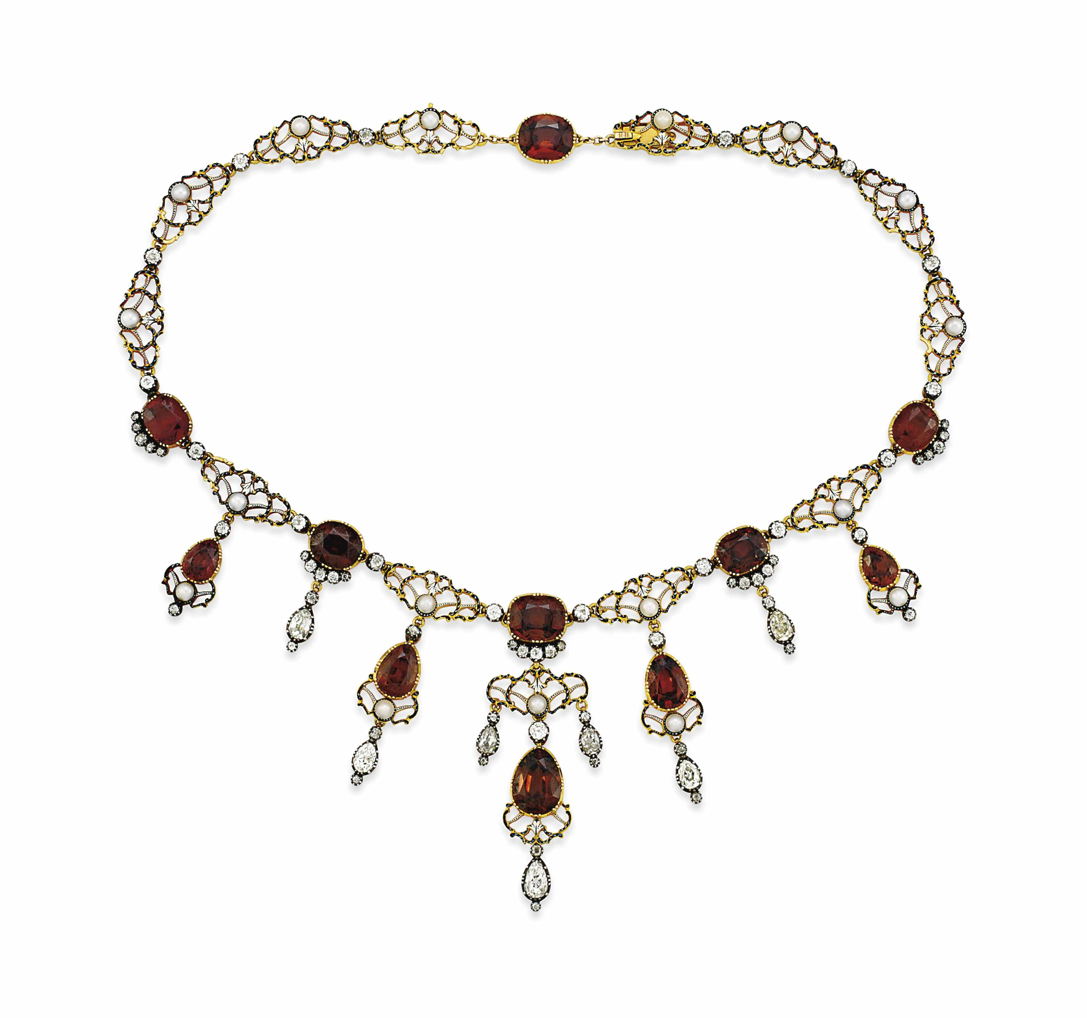 A ZIRCON, PEARL AND DIAMOND NECKLACE, BY GIULIANO