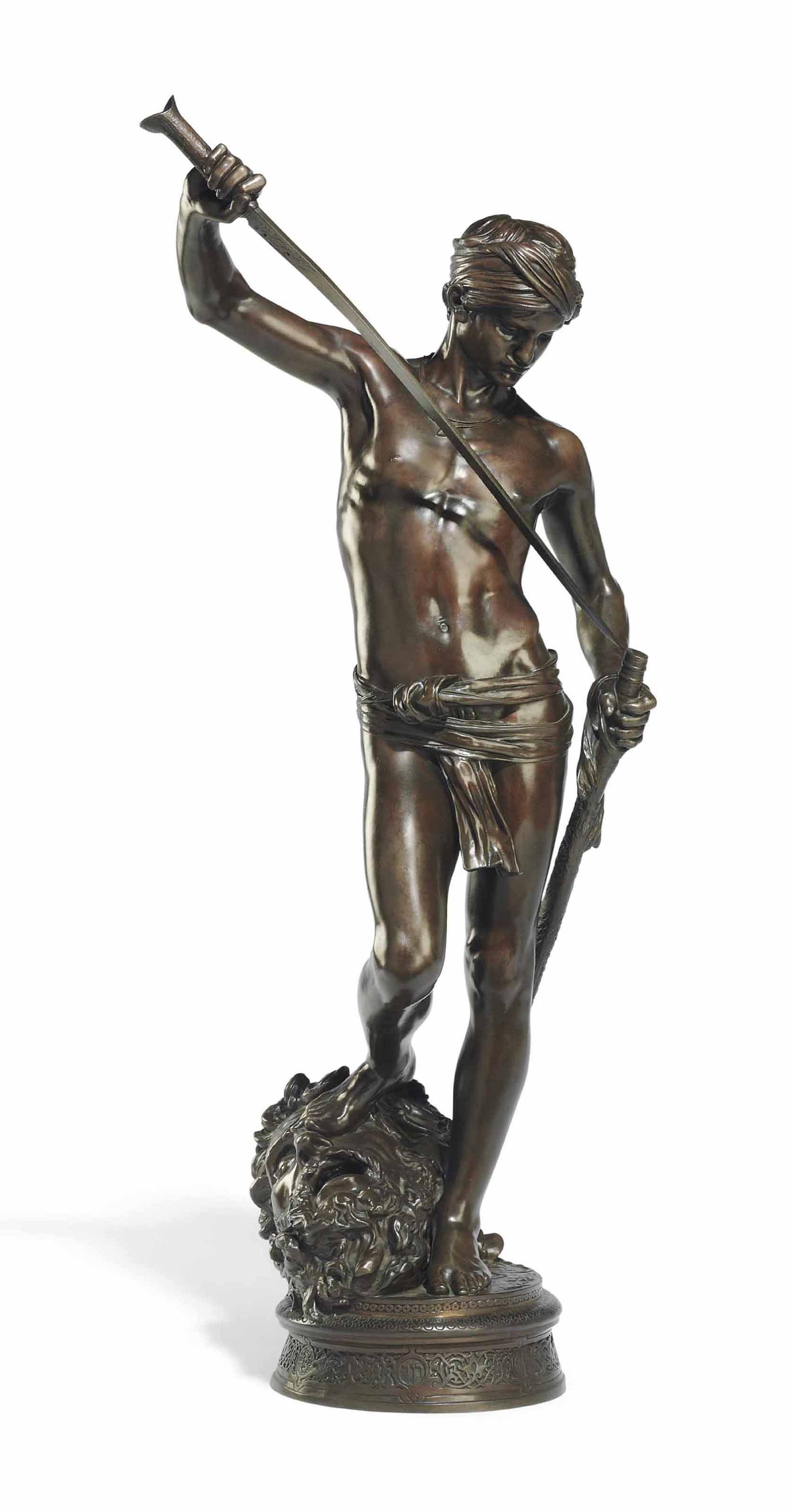 A FRENCH PATINATED BRONZE FIGURE OF 'DAVID VAINQUER'