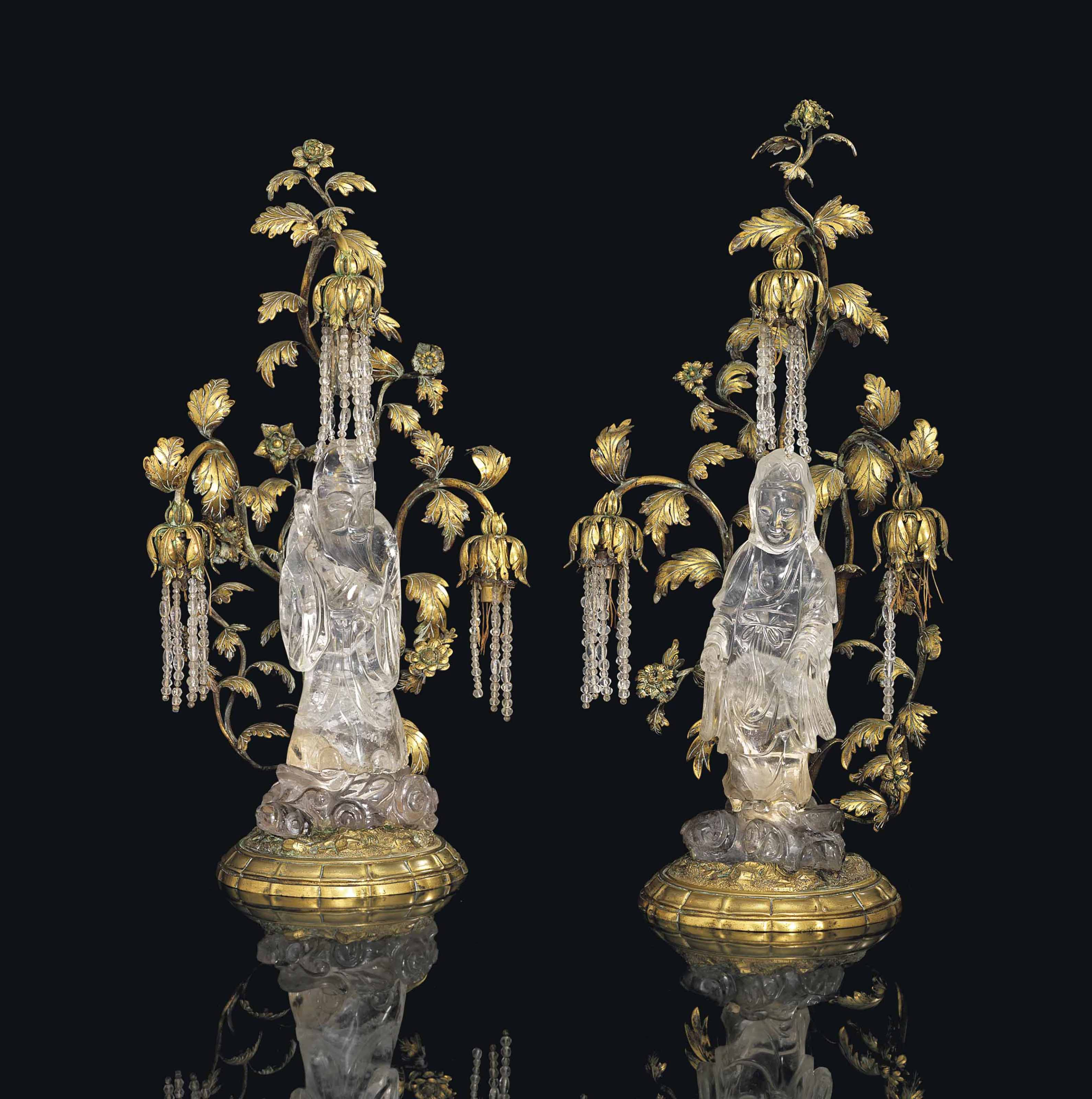 A PAIR OF FRENCH ORMOLU AND ROCK CRYSTAL CHINOISERIE CANDELABRA