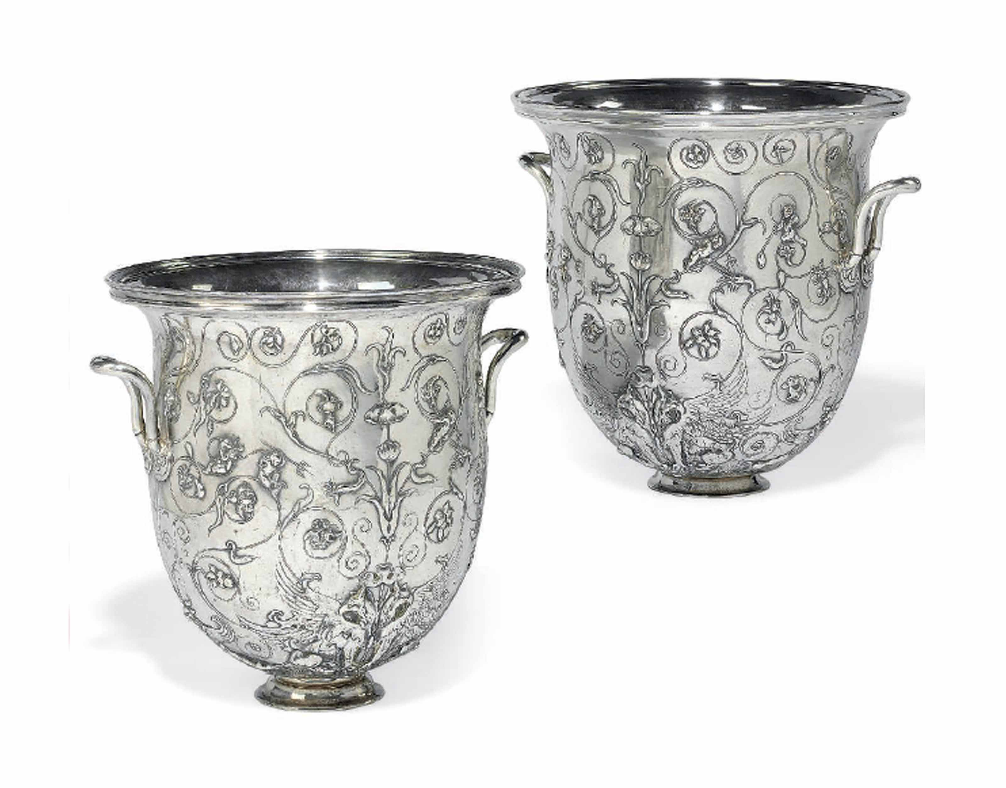 A PAIR OF FRENCH SILVER ELECTROPLATED JARDINIERES