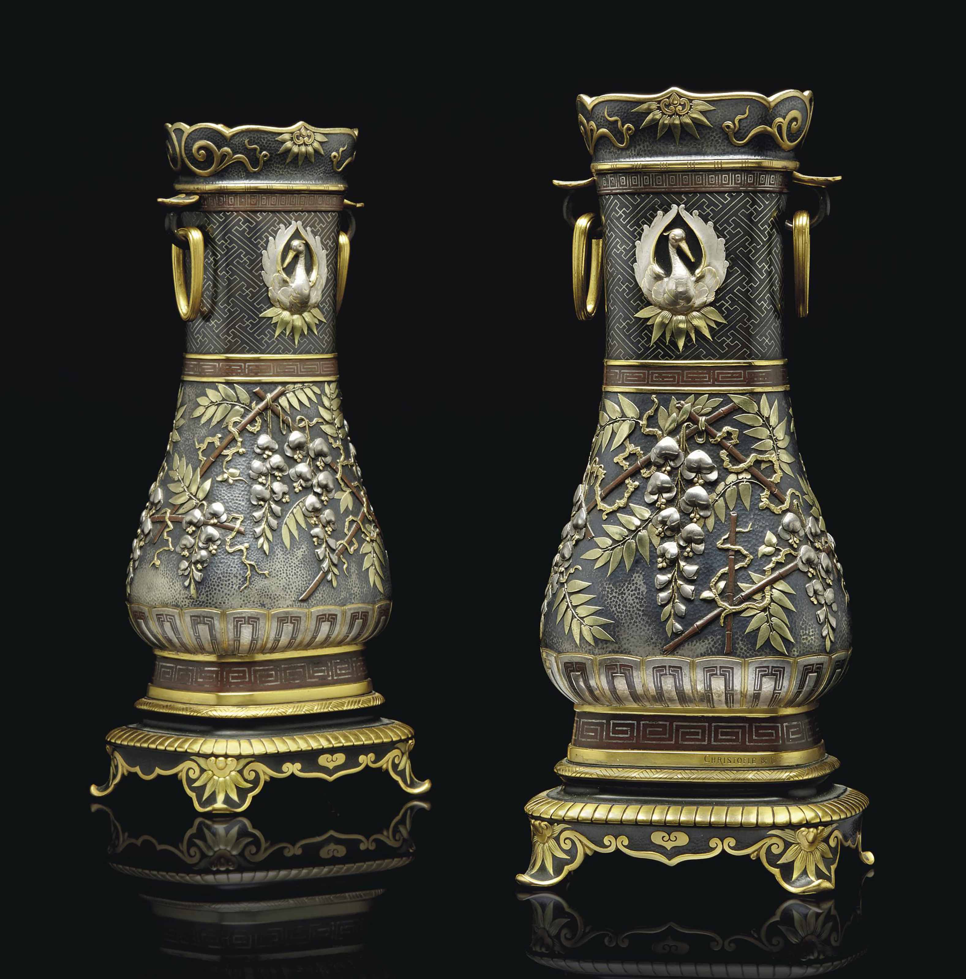 A PAIR FRENCH GILT, SILVERED AND PATINATED-BRONZE VASES 'FLEURS DE GLYCINE'