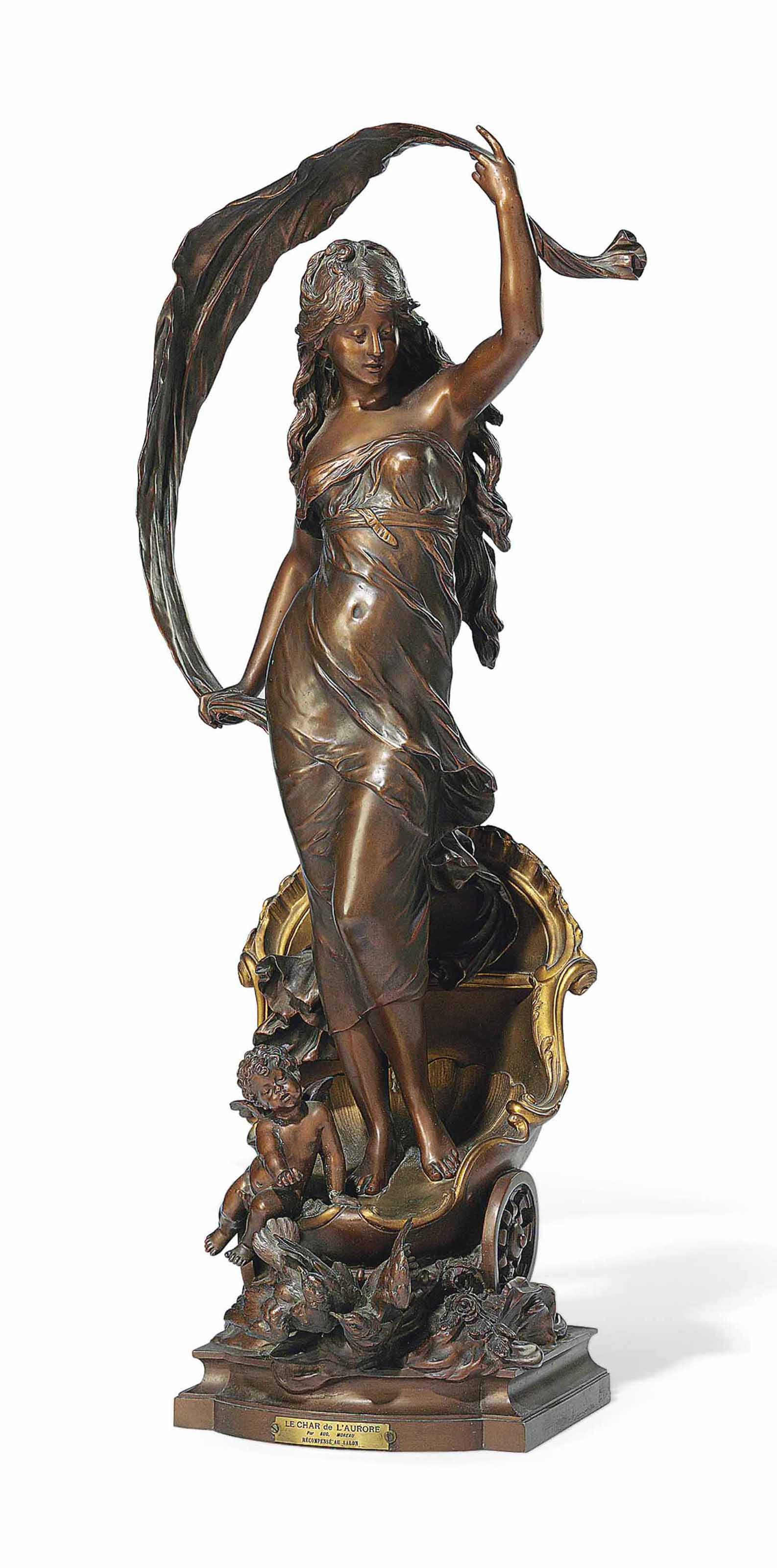 A FRENCH GILT AND PATINATED-BRONZE FIGURE OF 'LE CHAR D'AURORE'