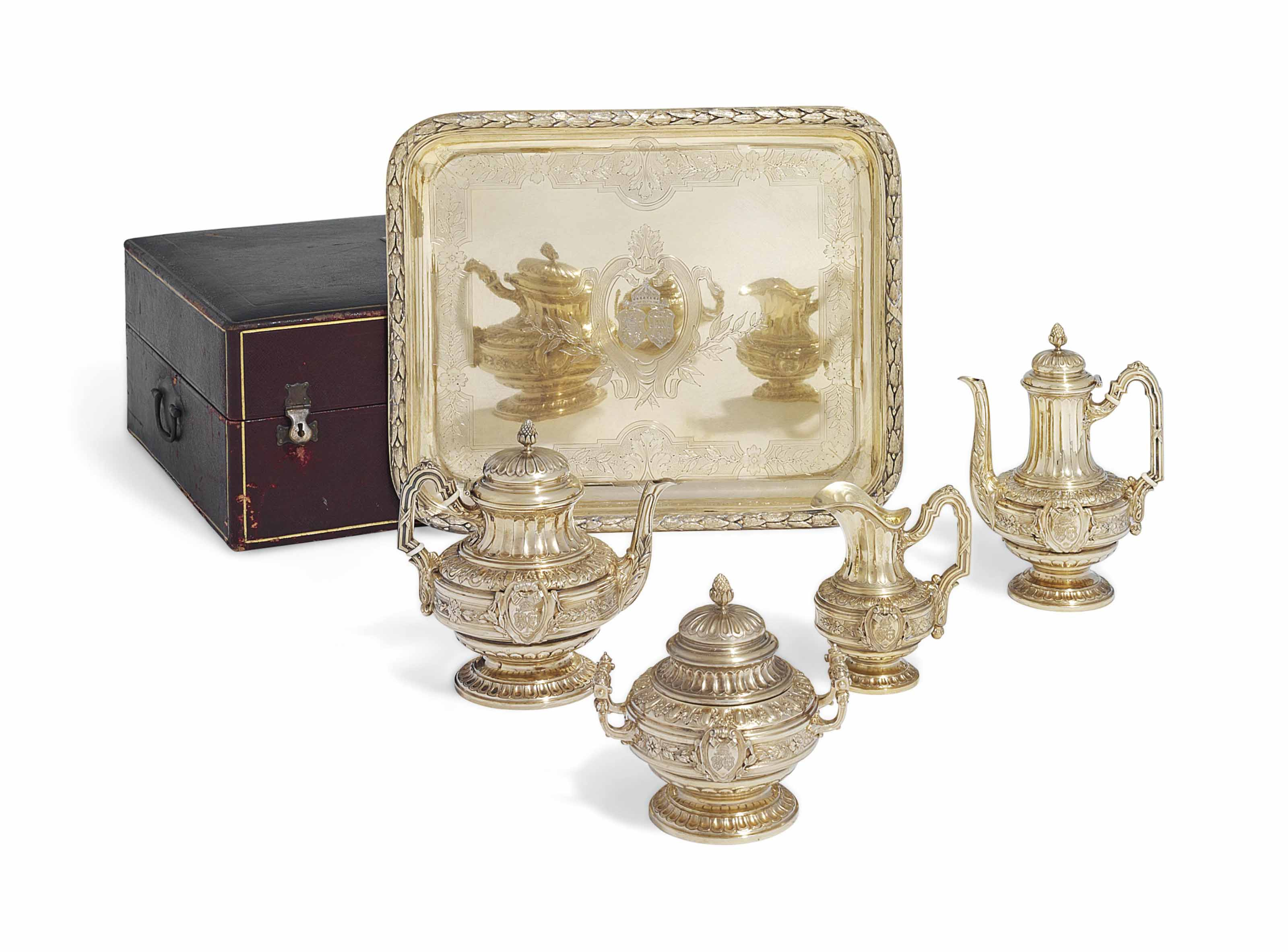 A FRENCH SILVER-GILT FOUR-PIECE TEA AND COFFEE SERVICE
