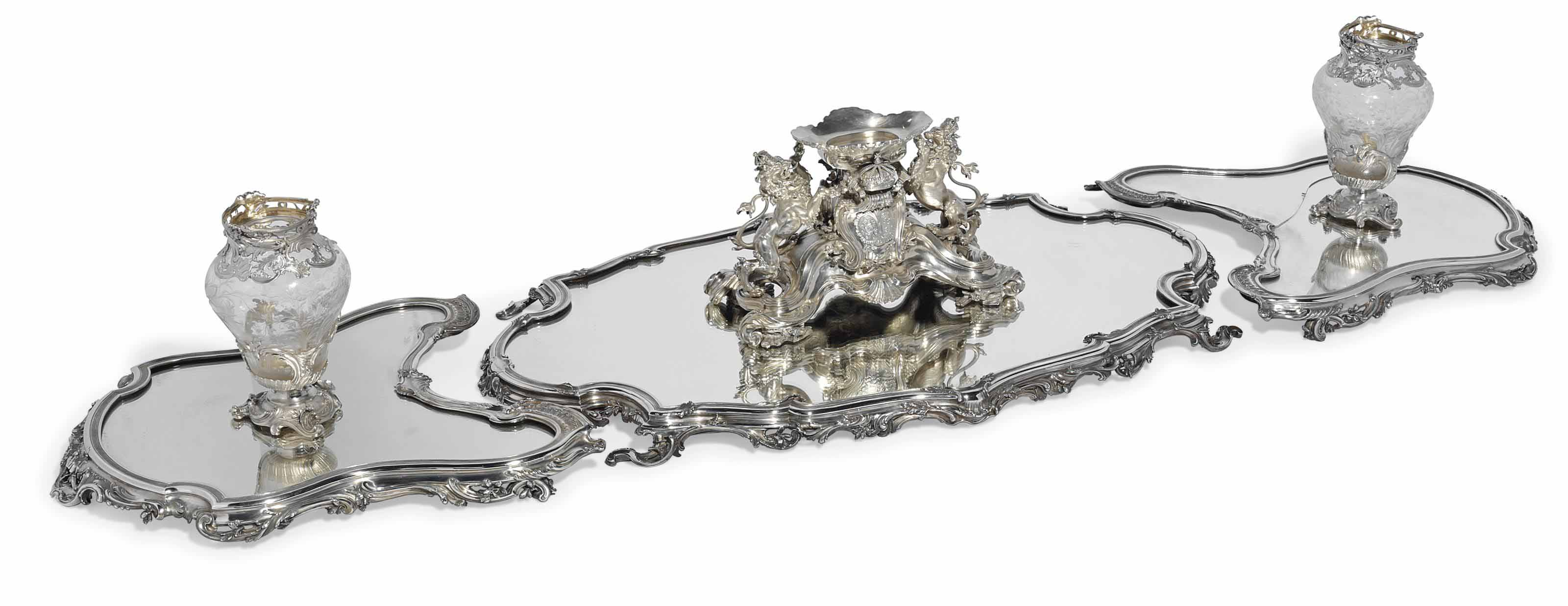 A FRENCH SILVER TABLE-GARNITURE
