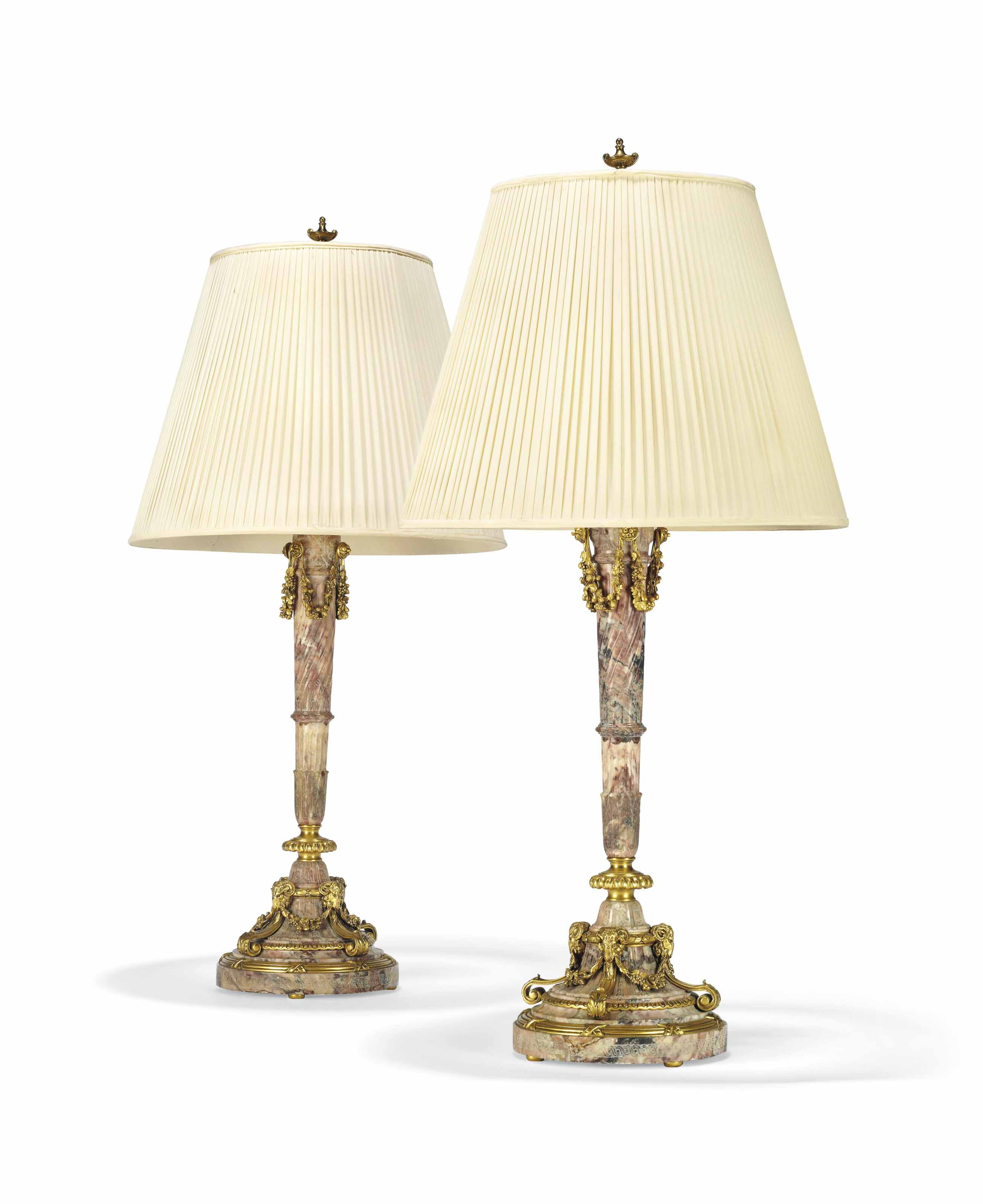 A PAIR OF AMERICAN GILT-BRONZE AND MABLE TABLE LAMPS