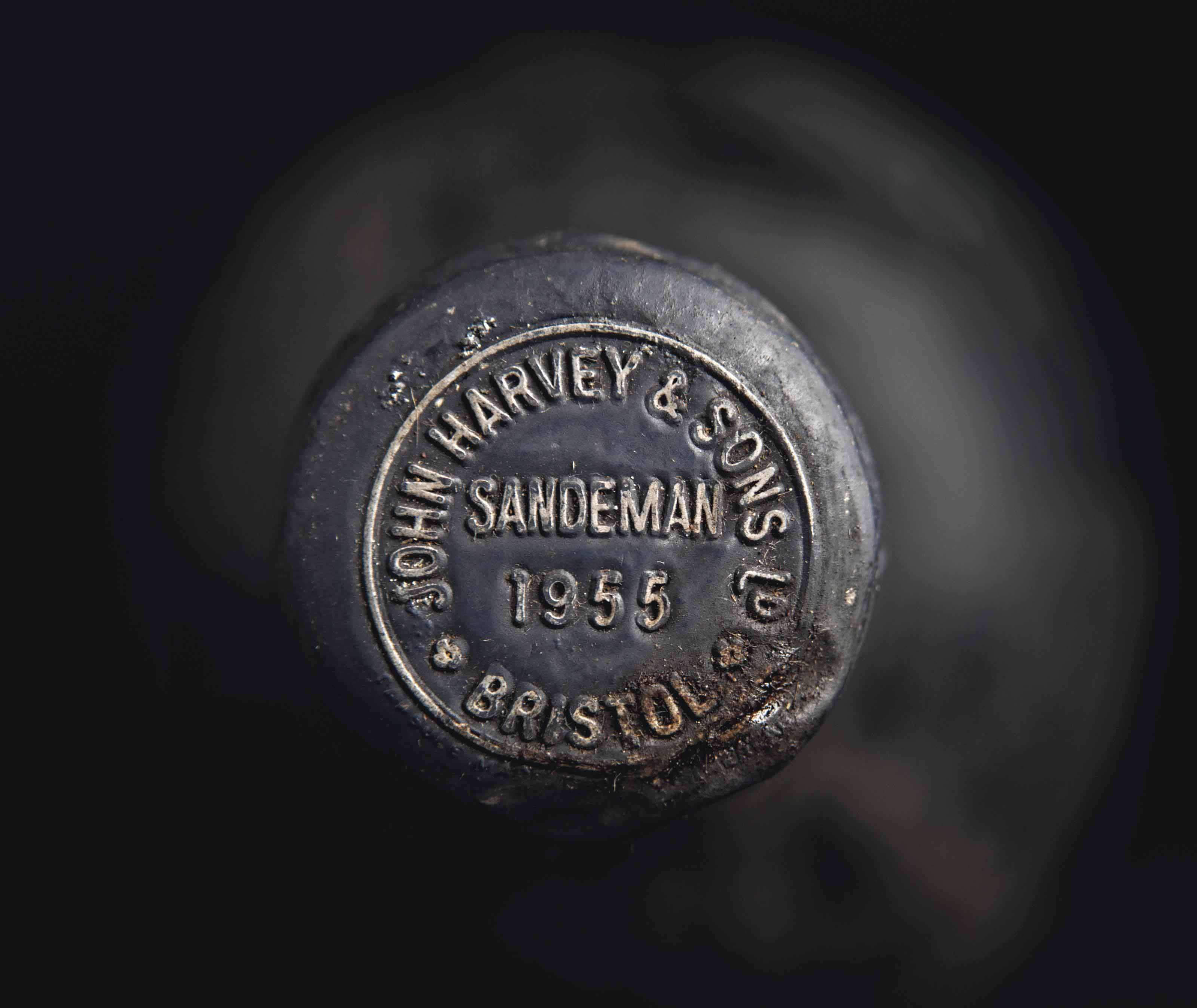 Sandeman 1950 Embossed wax capsules, one damaged. No labels. Levels base of neck  (3) 1955 Embossed metal capsule. No label. Level top-shoulder (1)
