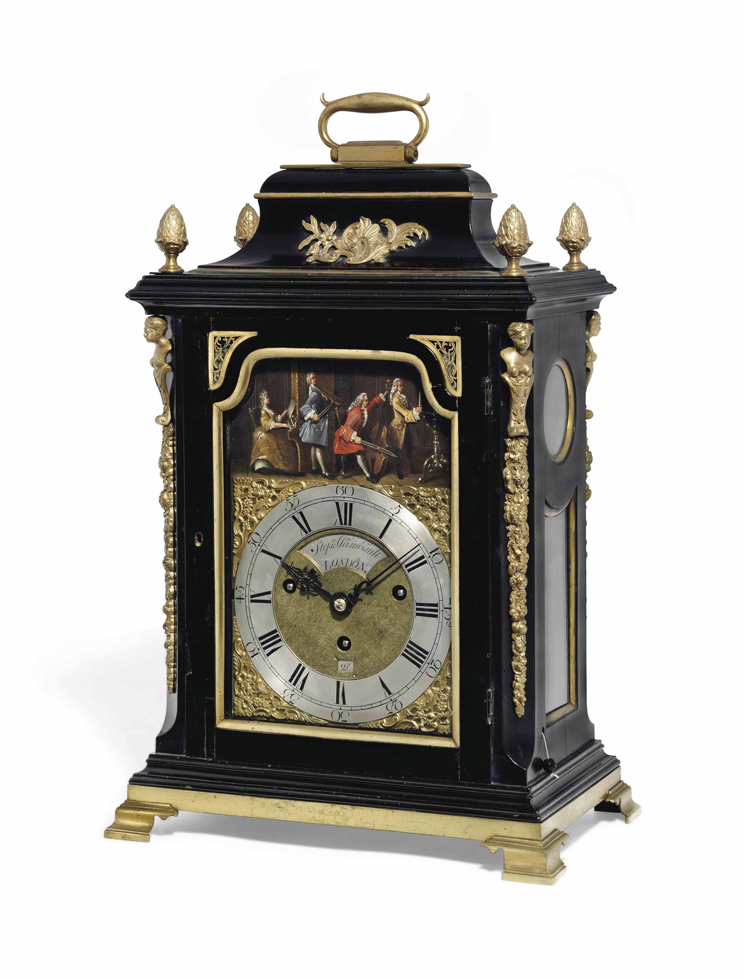 A GEORGE II GILT-BRASS MOUNTED EBONISED AUTOMATON QUARTER-CHIMING TABLE CLOCK