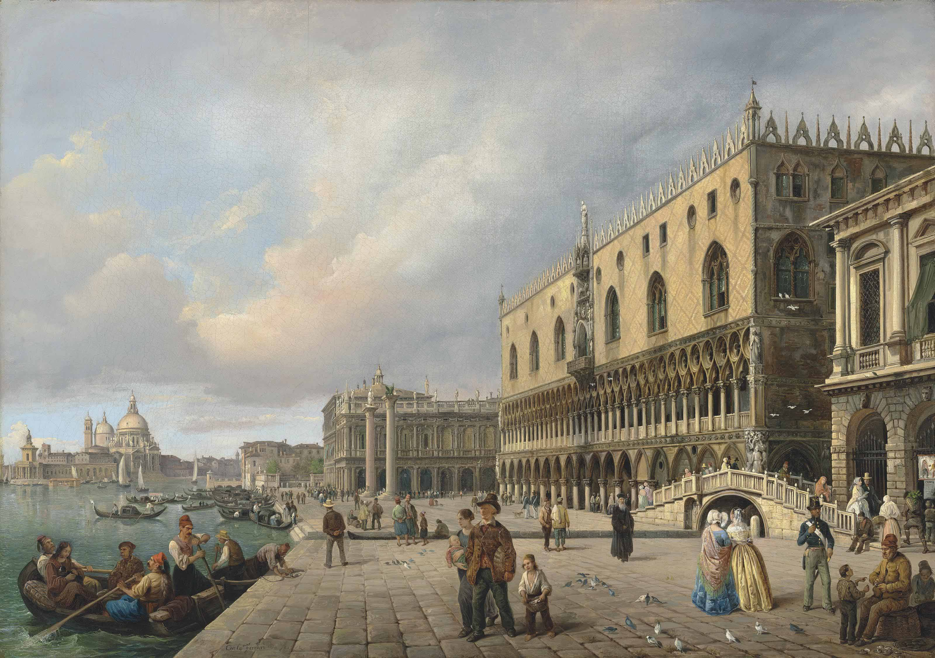 The Riva degli Schiavoni, Venice, with Santa Maria della Salute beyond