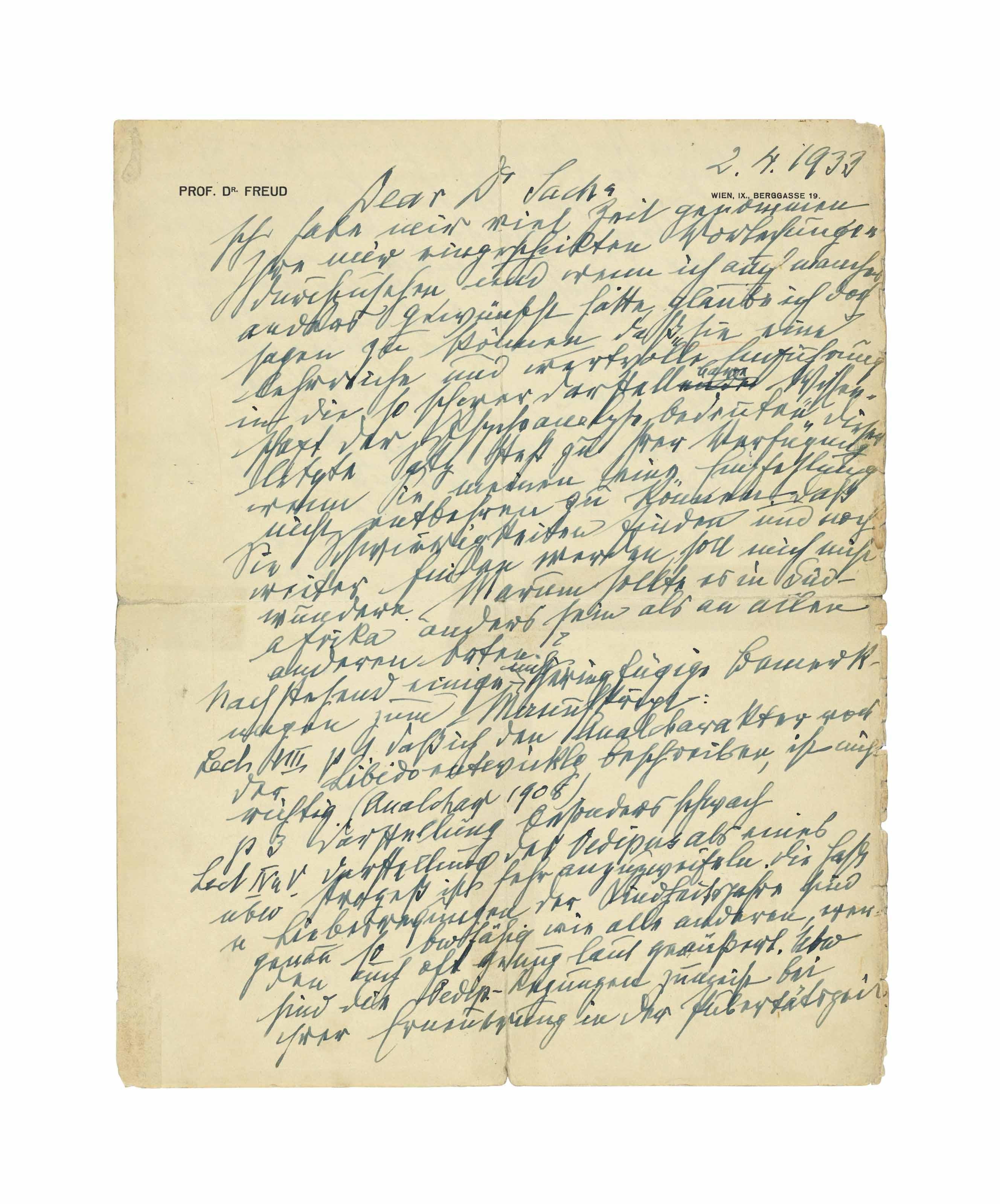 FREUD, Sigmund. Autograph letter signed ('Freud') to Dr [Wulf] Sachs, Berggasse 19, Vienna, 2 April 1933.