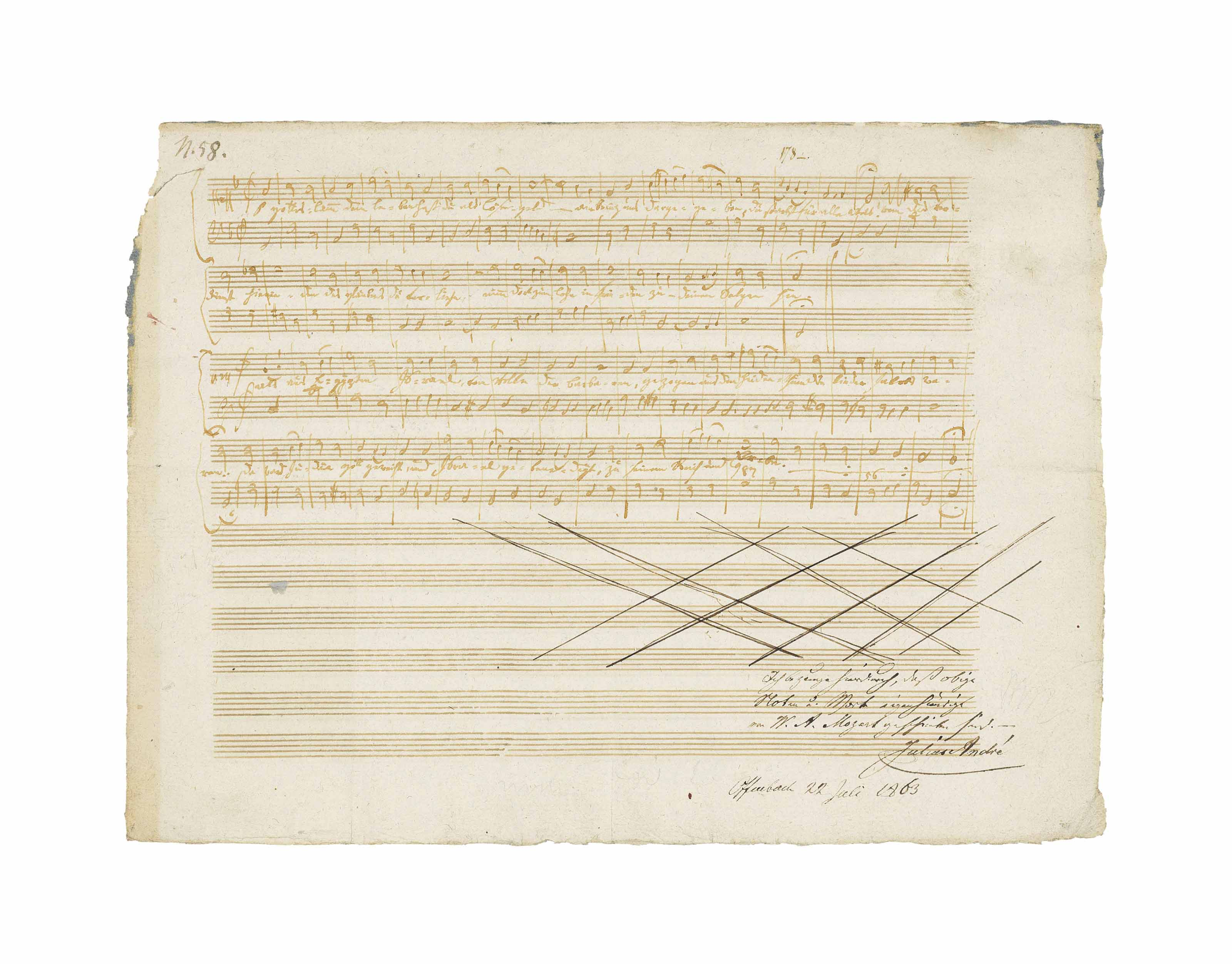MOZART, Wolfgang Amadeus (1756-1791). Autograph music manuscript, Zwei deutsche Kirchenlieder, K.343 (336c), n.p., n.d. [Prague, January/February 1787].