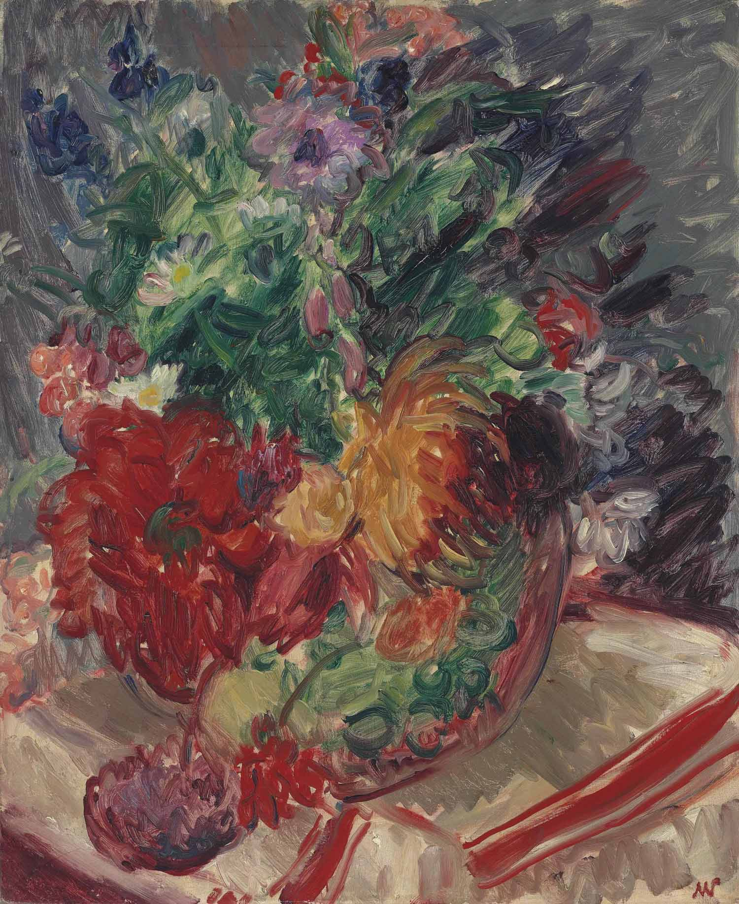 Still life with flowers and striped cloth