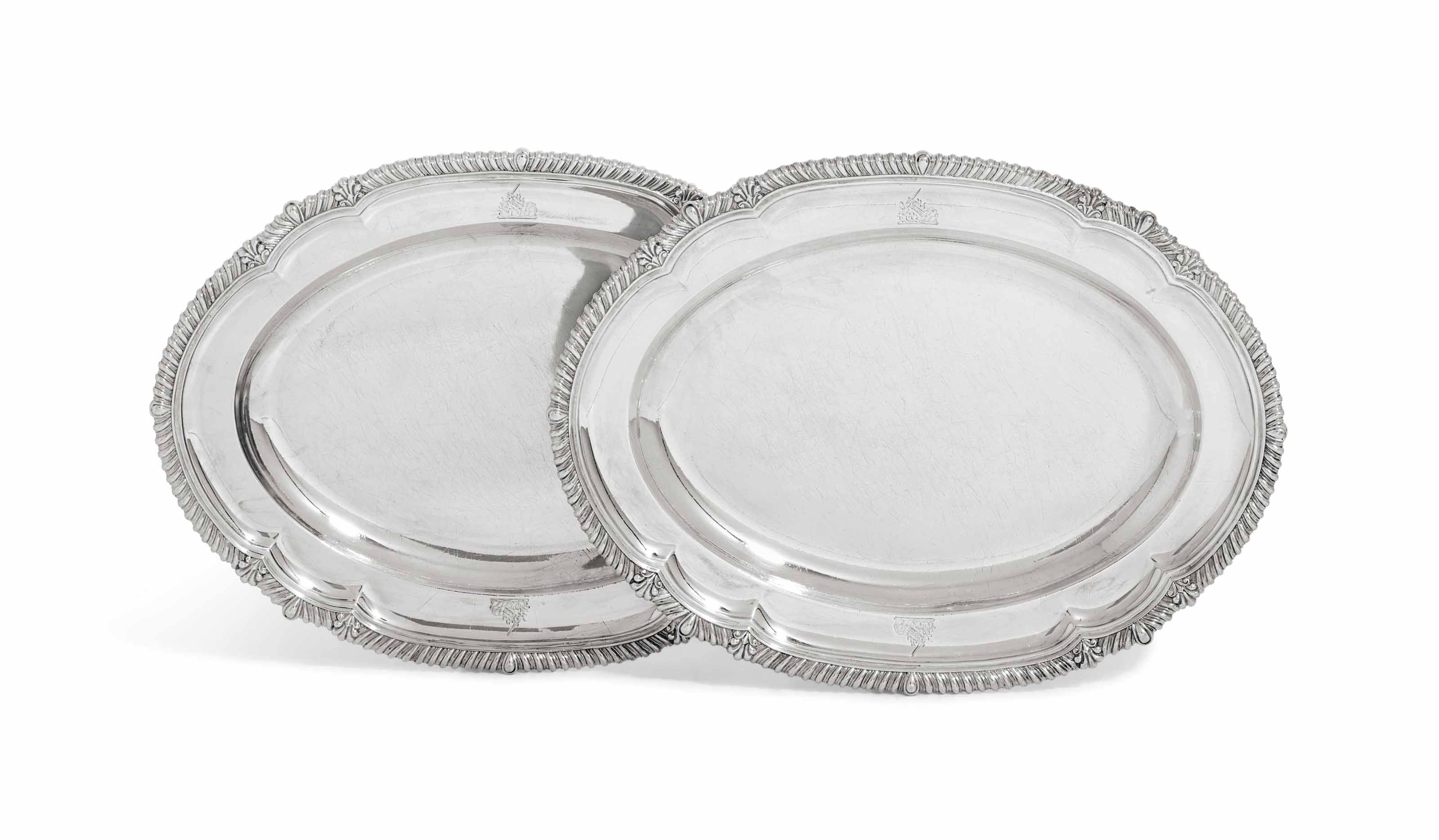 A PAIR OF GEORGE IV SILVER MEAT-DISHES