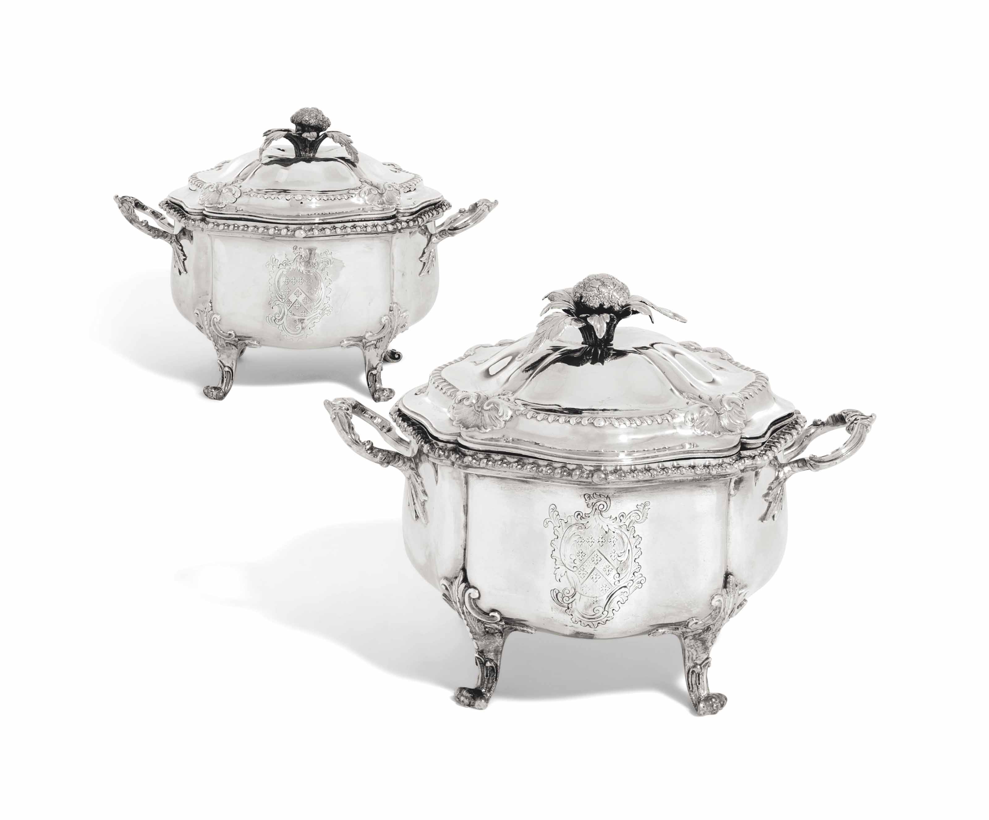 A PAIR OF GEORGE III SILVER POT A OILLE AND COVERS