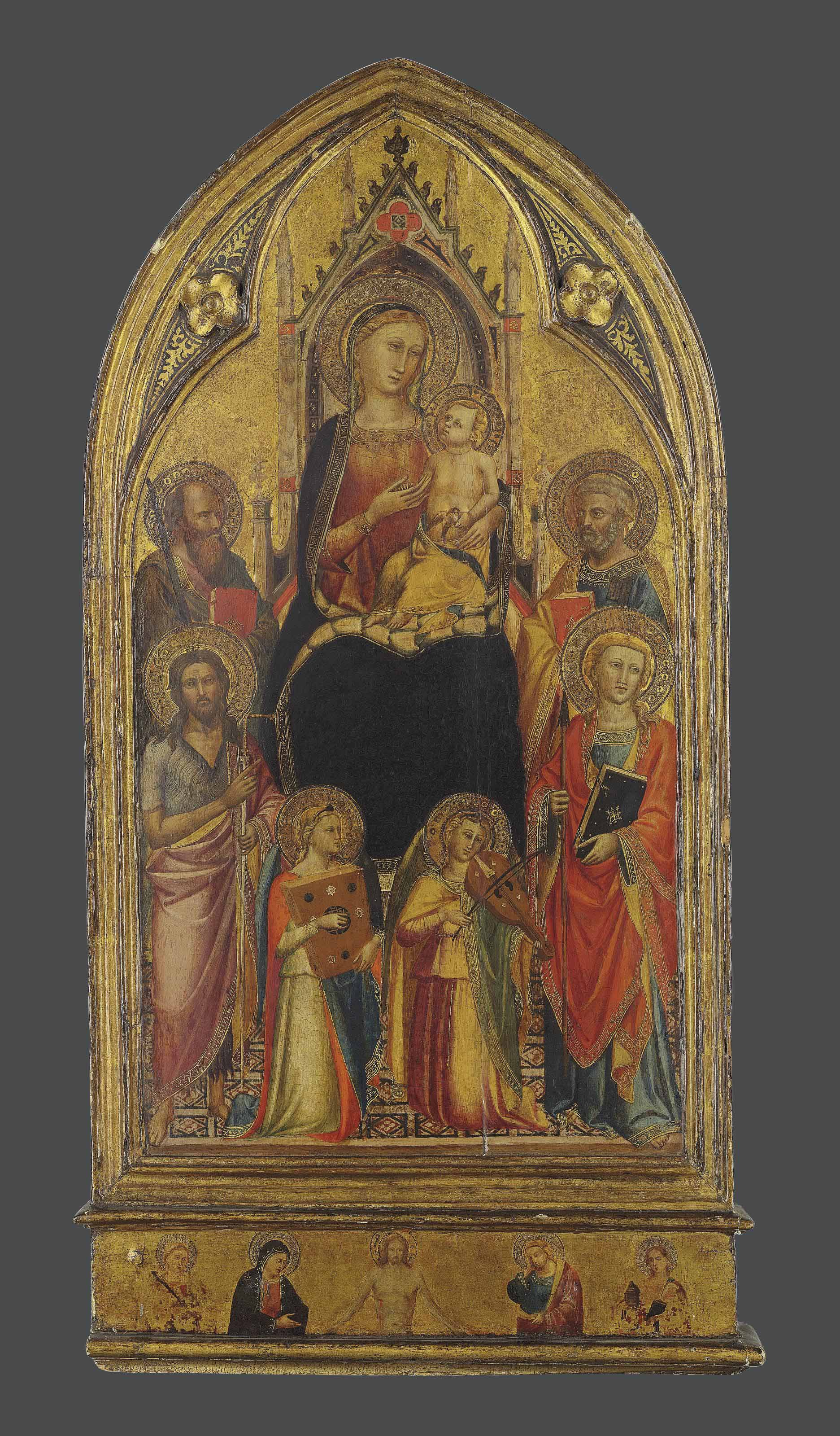 The Madonna and Child enthroned, with Saints John the Baptist, Paul, Peter and Thomas, and musical angels; the predella: Christ as the Man of Sorrows, flanked by the Virgin Mary, Saint John the Evangelist and two female martyr saints