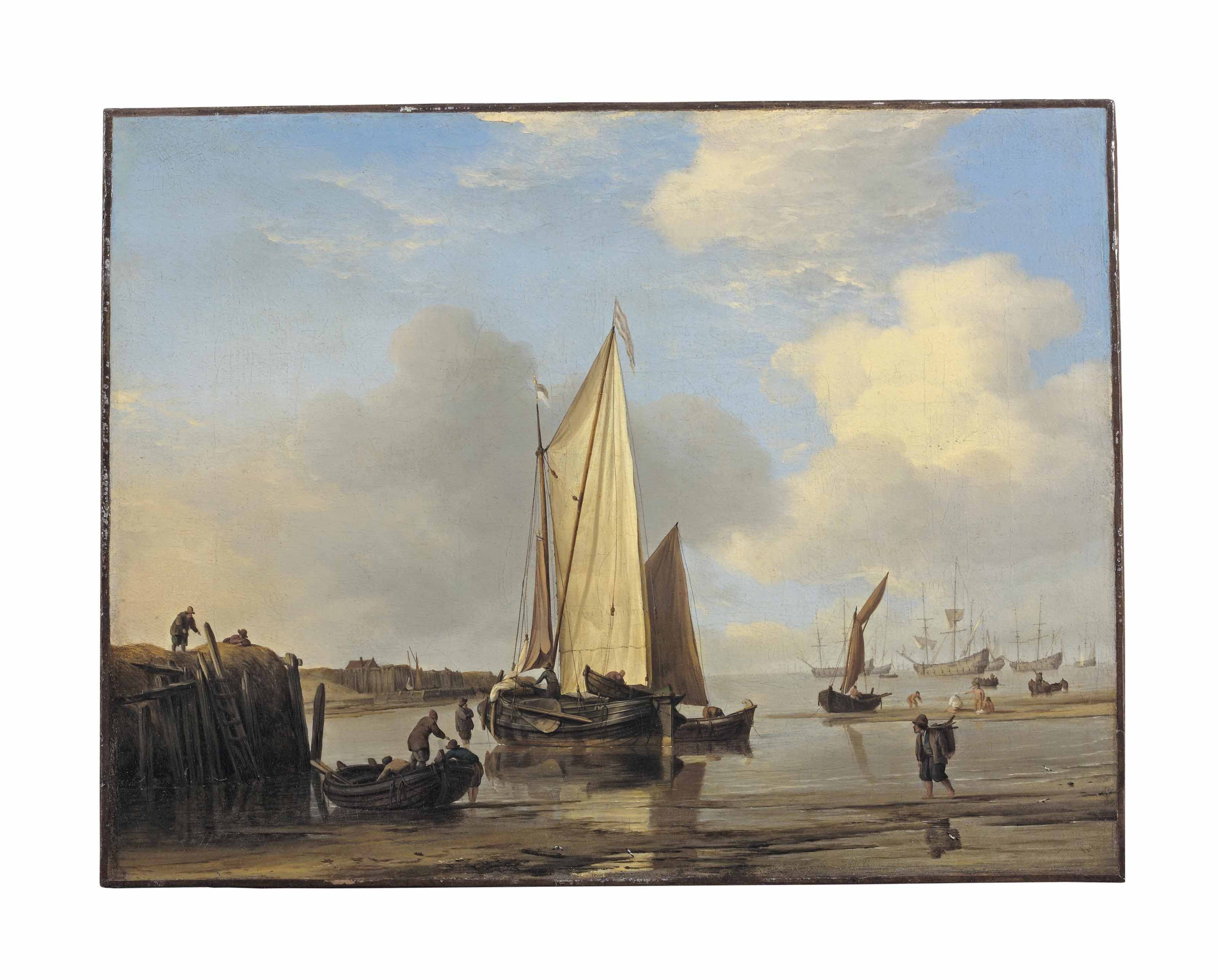 A kaag and other vessels off an inlet on the Dutch coast