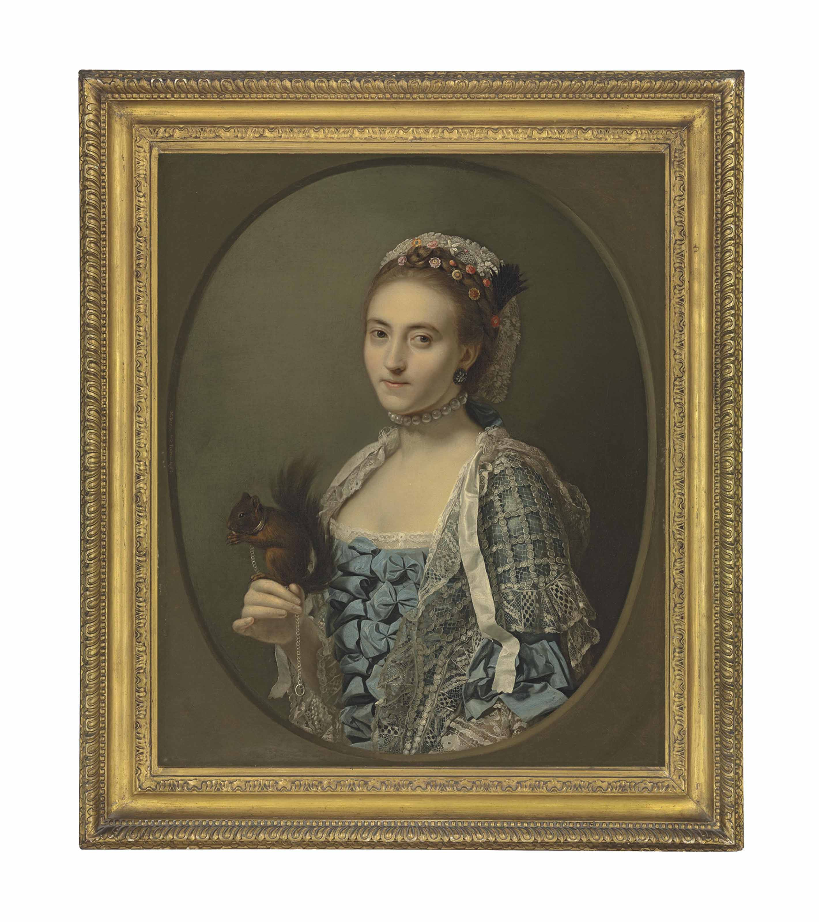 Portrait of Olive Craster (d. 1769), half-length, in a blue dress with ribbons and a lace shawl, with a pearl necklace and flowers in her hair, holding a squirrel, in a feigned oval