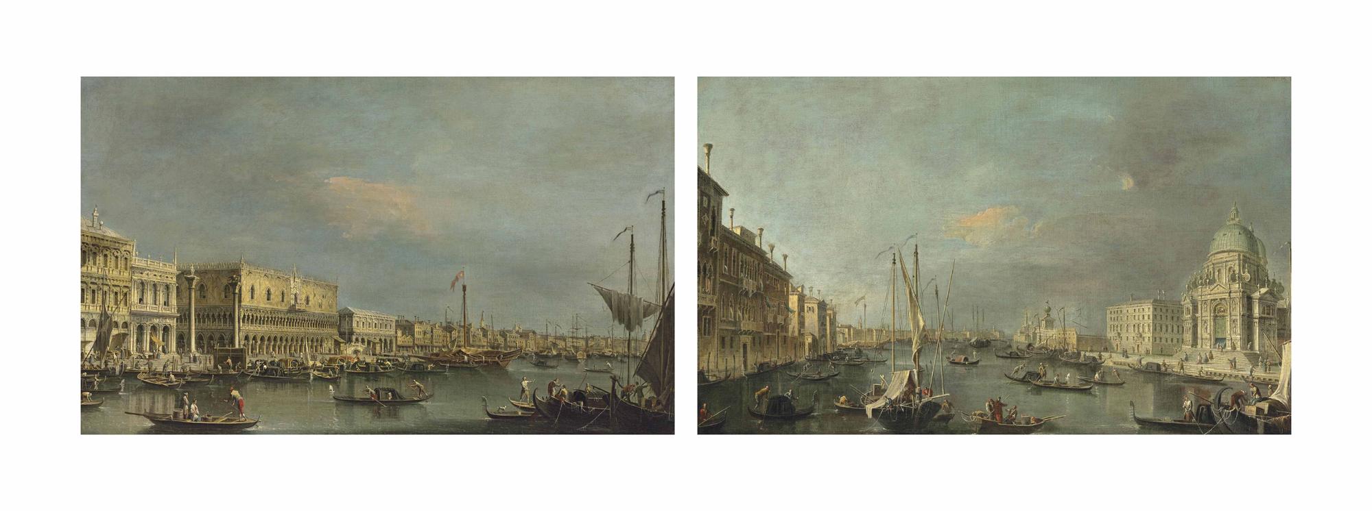 Palazzo Ducale and the Libreria, Venice, from the Bacino di San Marco; and Santa Maria della Salute, Venice, with the Punto della Dogana in the distance