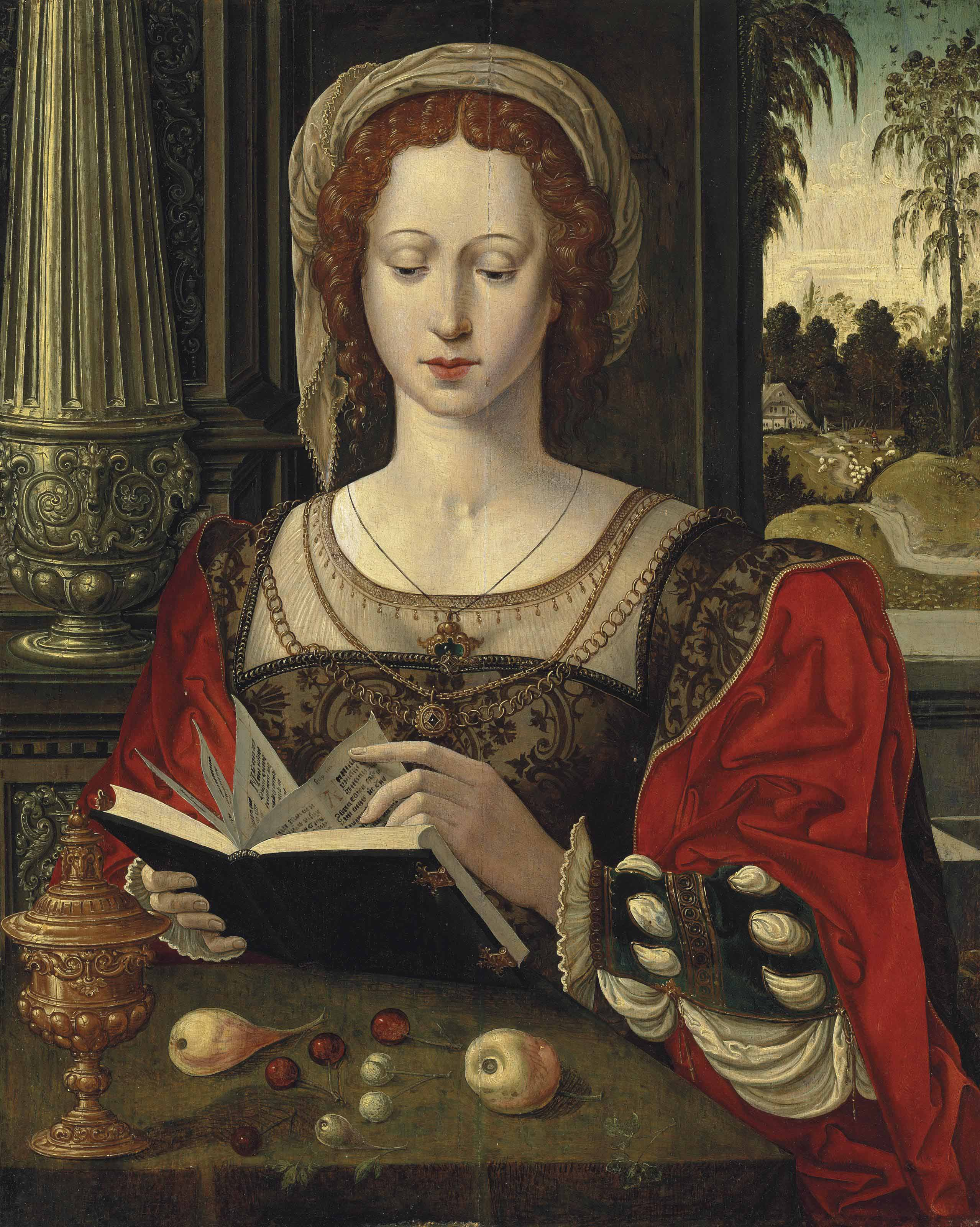 Saint Mary Magdalene reading, at a table with fruit and a golden tazza