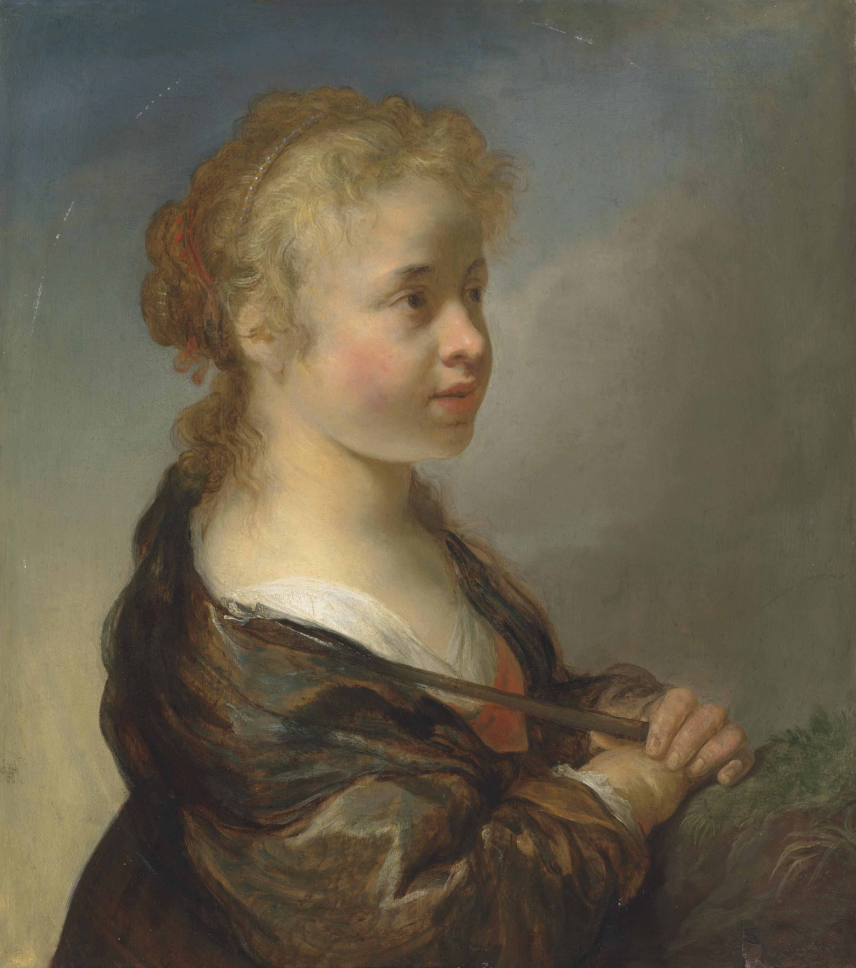 Portrait of a girl as a shepherdess, half-length, in a red dress and blue wrap, with a pearl headdress