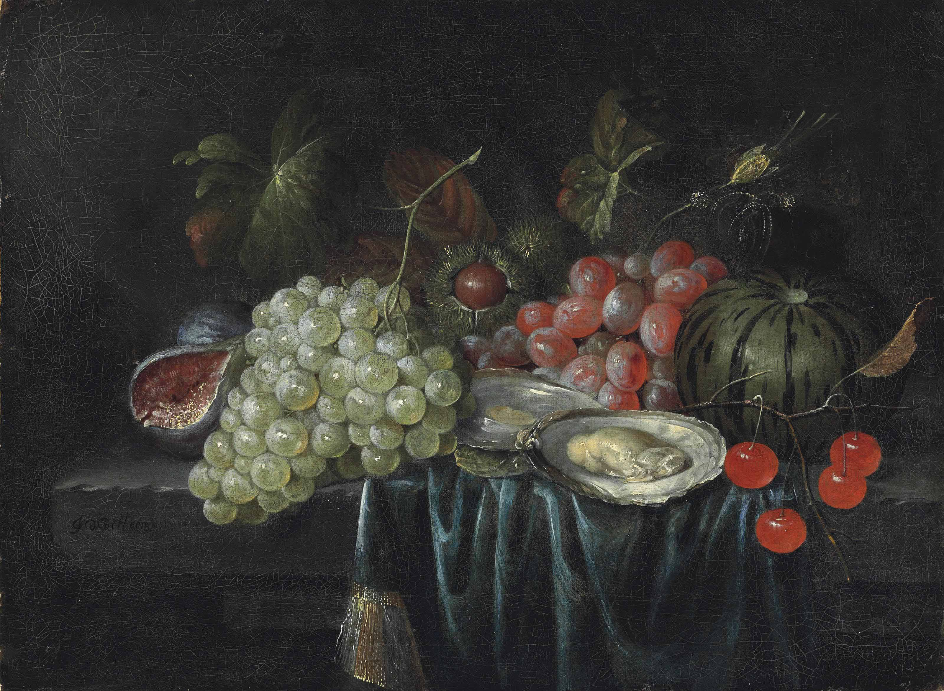 Grapes, oysters, chestnuts, a fig and cherries on a partially draped stone ledge