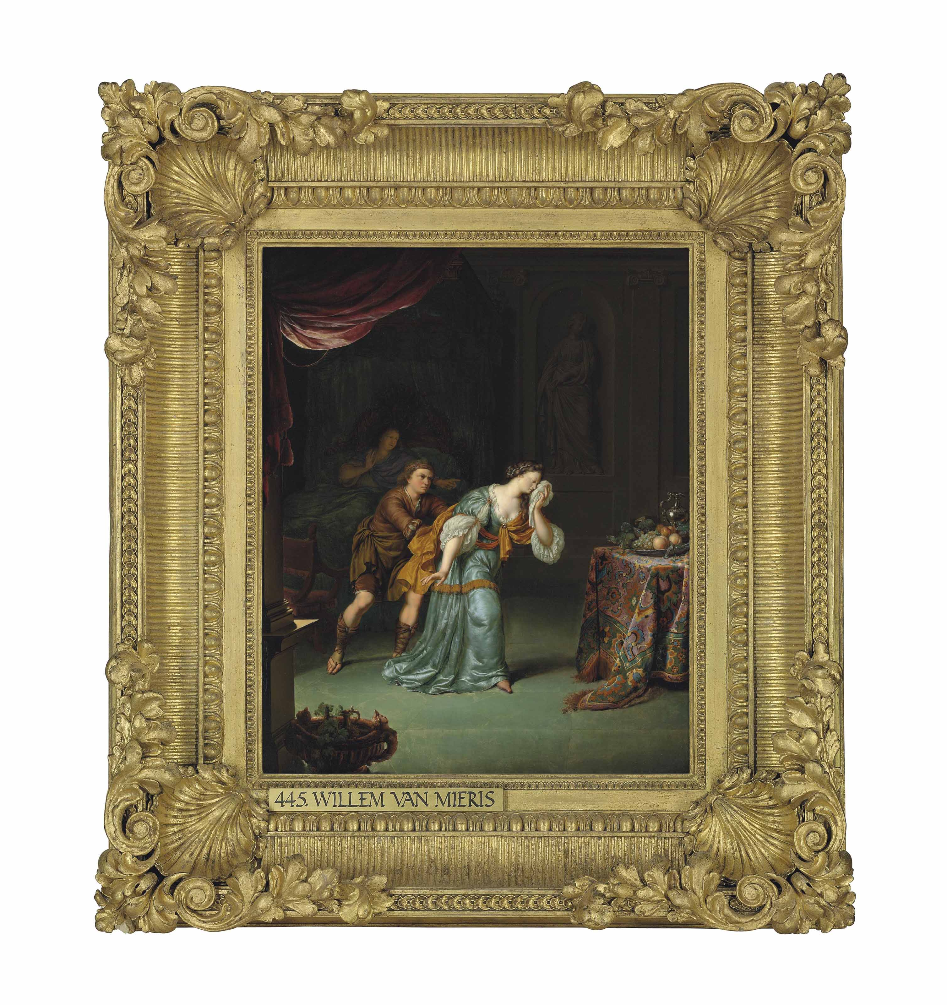 An interior with a man consoling a distressed lady, beside an invalid in bed