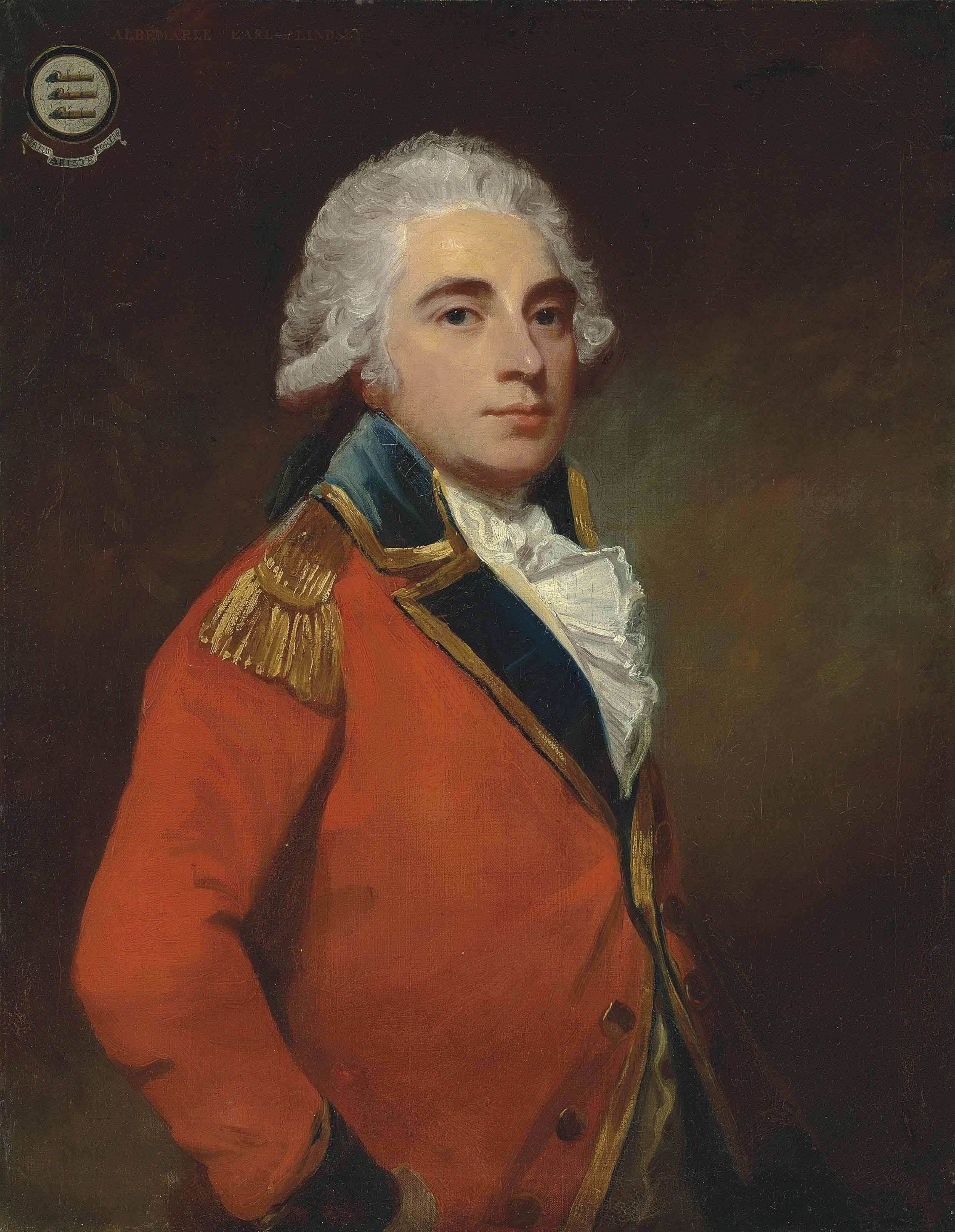 Portrait of General Albemarle Bertie, 9th Earl of Lindsay (1744-1818), half-length, in the uniform of the Grenadier guards