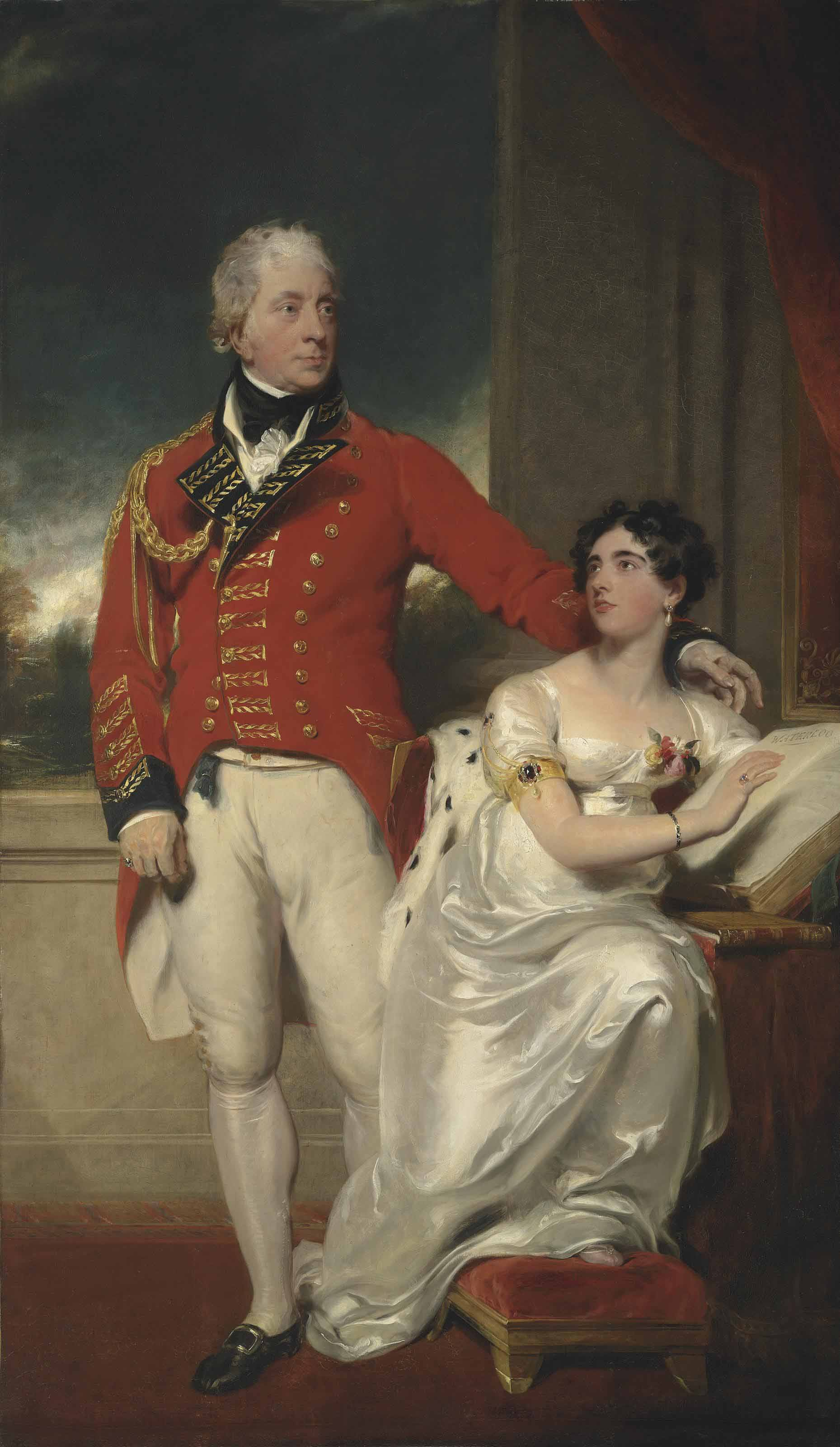 Portrait of General Albemarle Bertie, 9th Earl of Lindsey (1744-1818) and his second wife, Charlotte Susanna Elizabeth (1780-1858), daughter of the Rev. Charles Peter Layard, Dean of Bristol, full-length, he in military uniform, she in a white dress