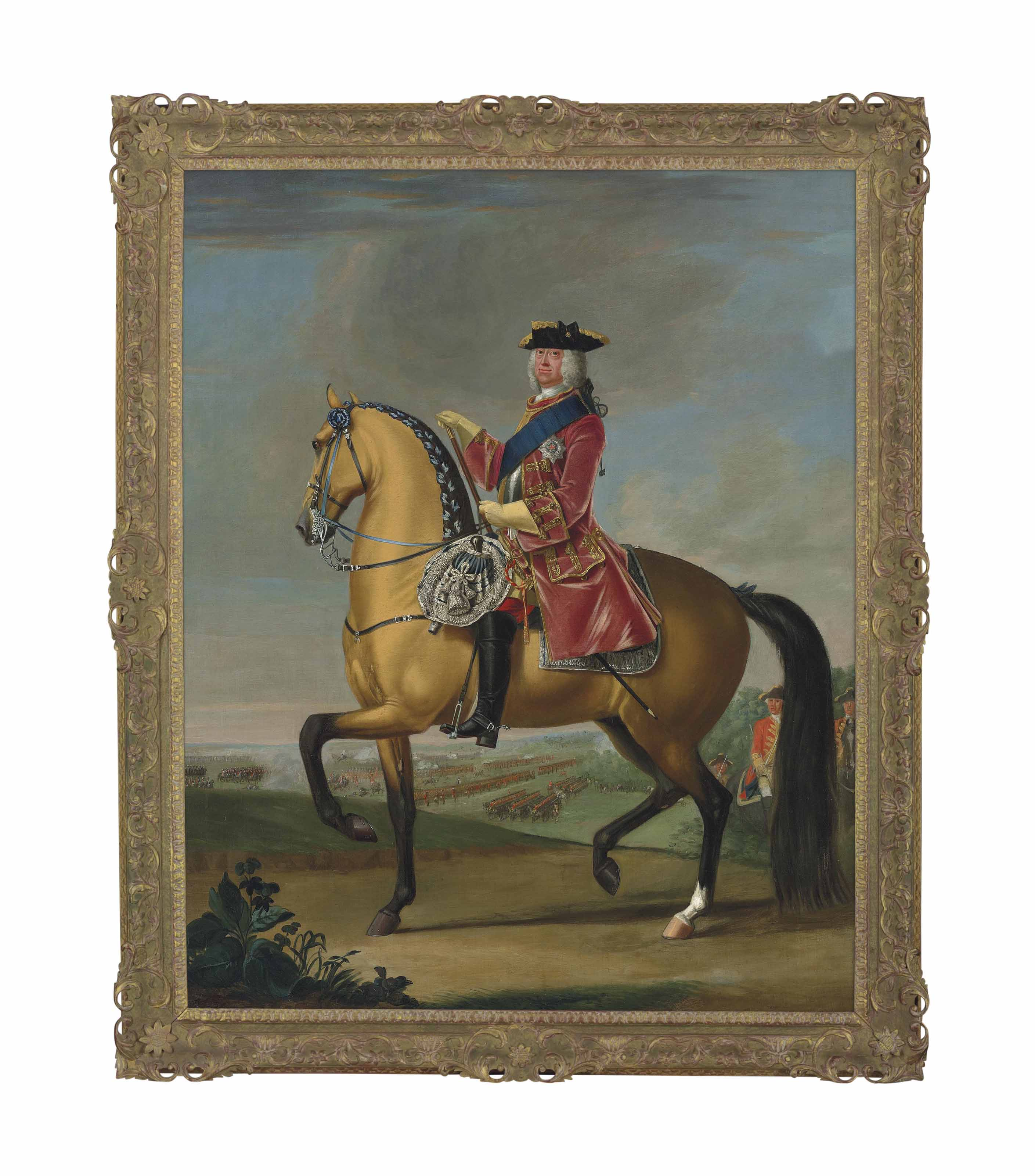 Equestrian portrait of King George II (1683-1770), in a red velvet coat with gold embroidery, in a landscape with a military camp and infantry beyond