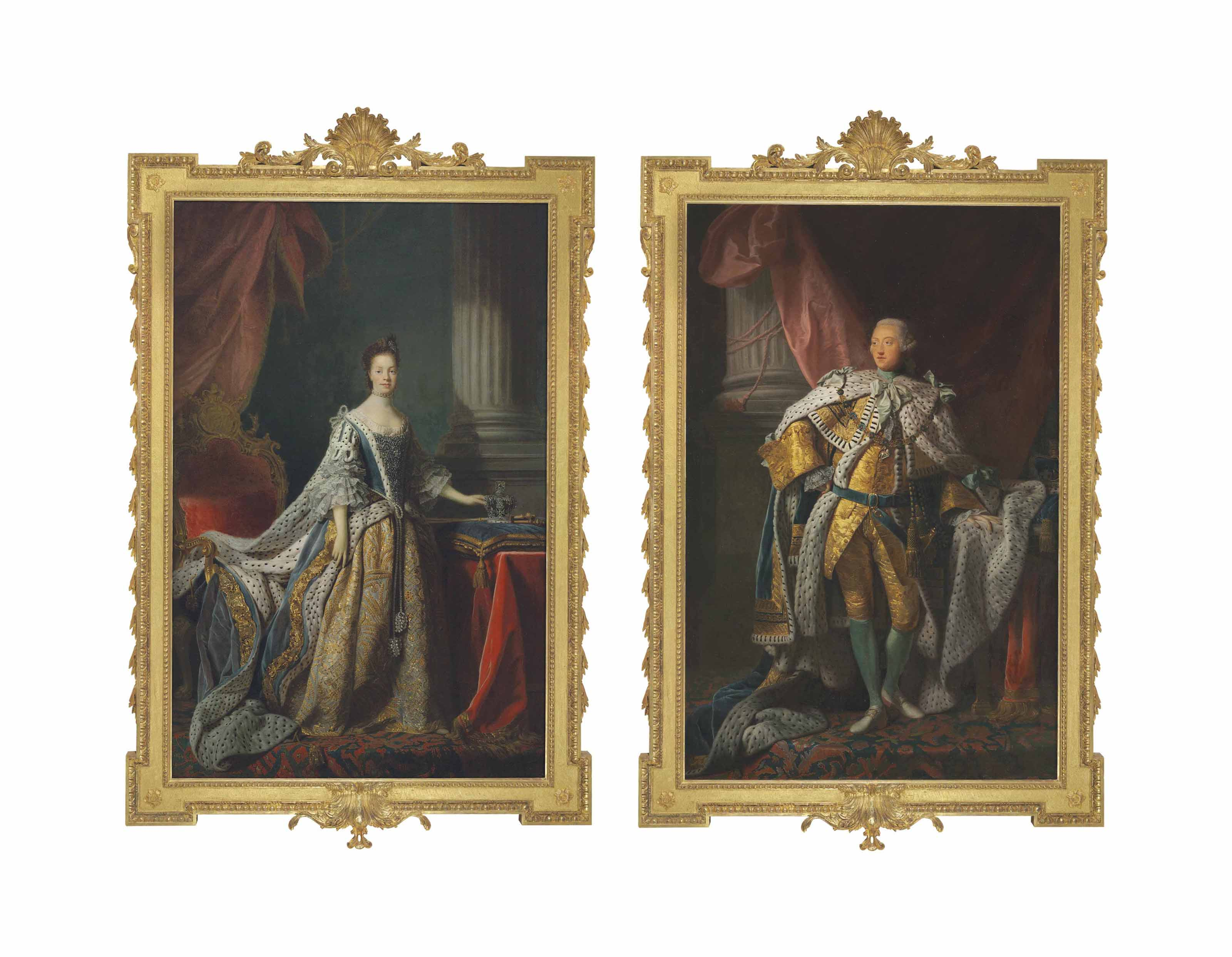 Portrait of King George III (1738-1820), full-length, in robes of state, his crown on a cushion on a table beside him; and Portrait of Queen Charlotte (1744-1818), full-length, in robes of state, in front of a richly carved and gilded chair decorated with the crown, sceptres, cipher and royal supporters, her left hand resting on her crown