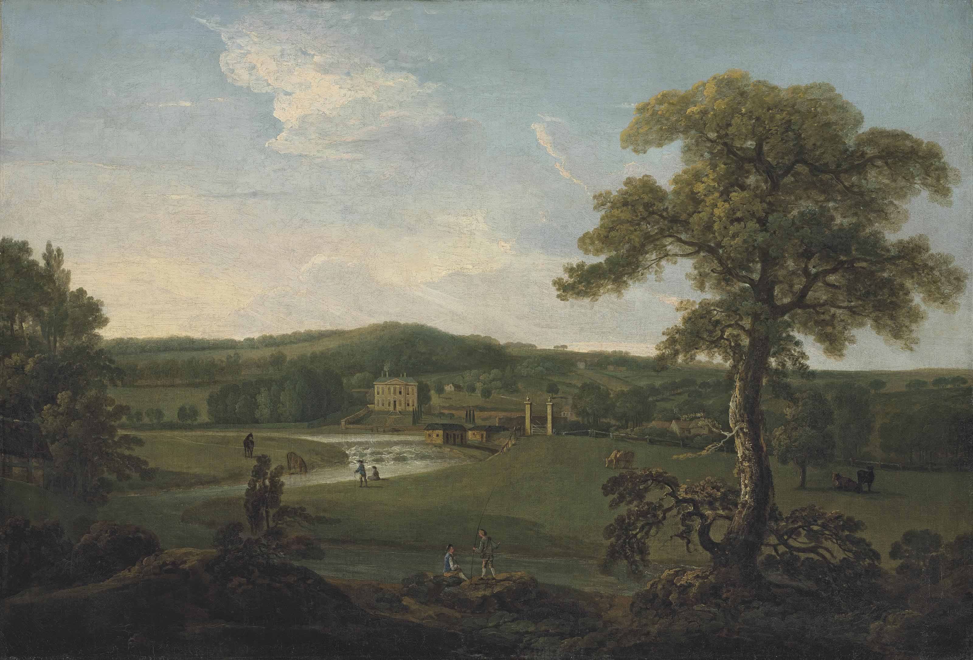 A view of Eshott Hall, North Yorkshire, with anglers on the River Aire