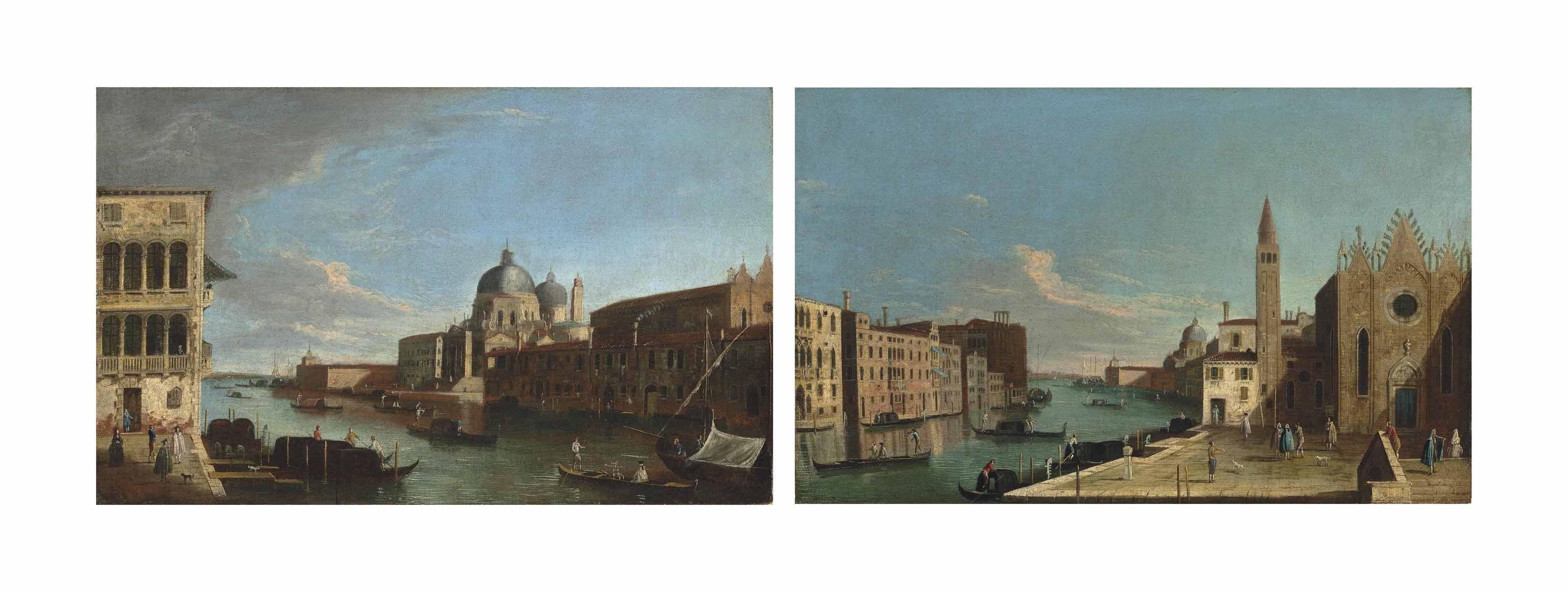 The Grand Canal, Venice, looking towards Santa Maria della Salute with the Punta della Dogana; and The Grand Canal, Venice, looking east with the Scuola della Carità