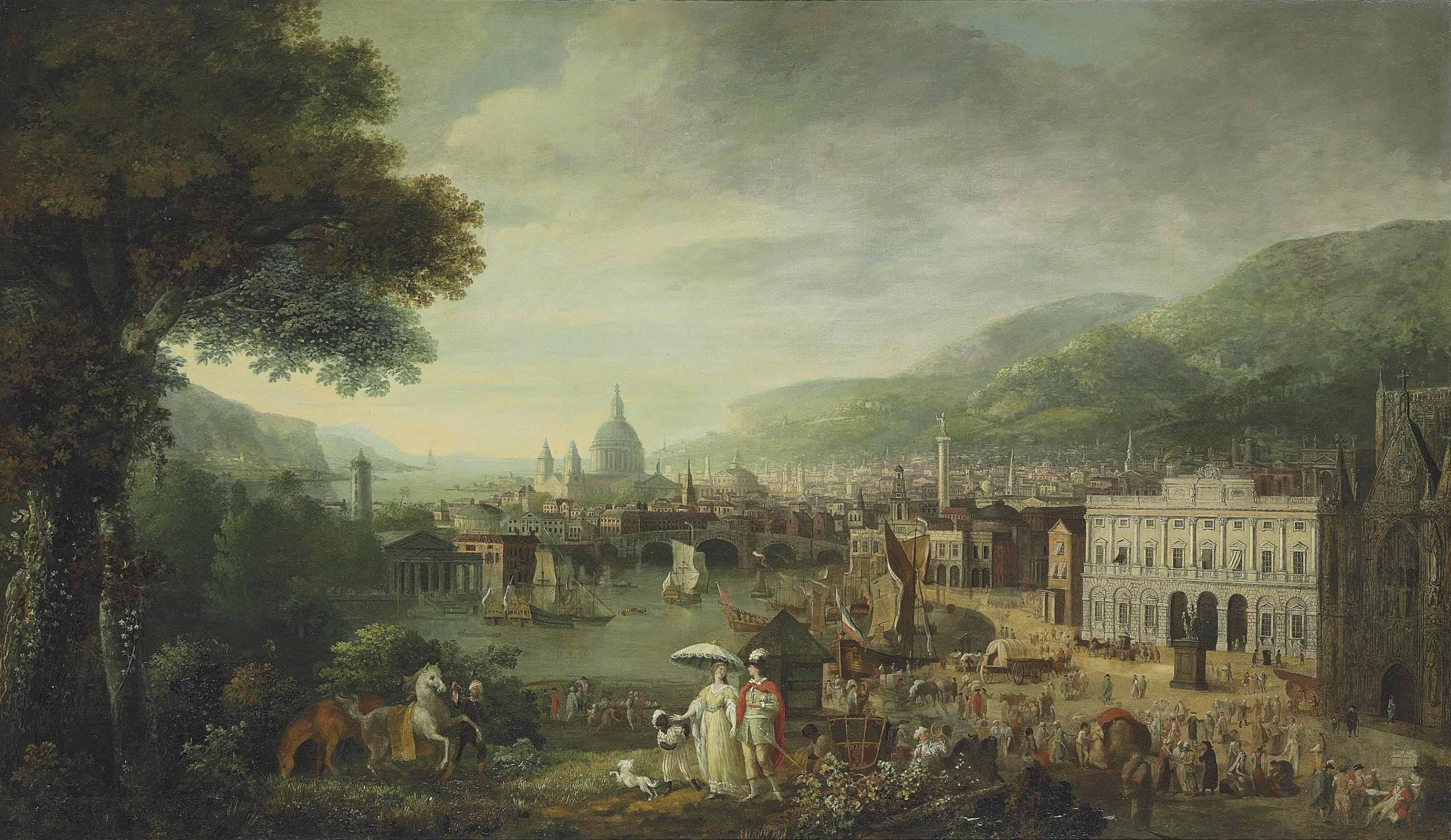 A capriccio of London as a seaport, with the Bank of England, Monument, Westminster Abbey, and Saint Paul's Cathedral