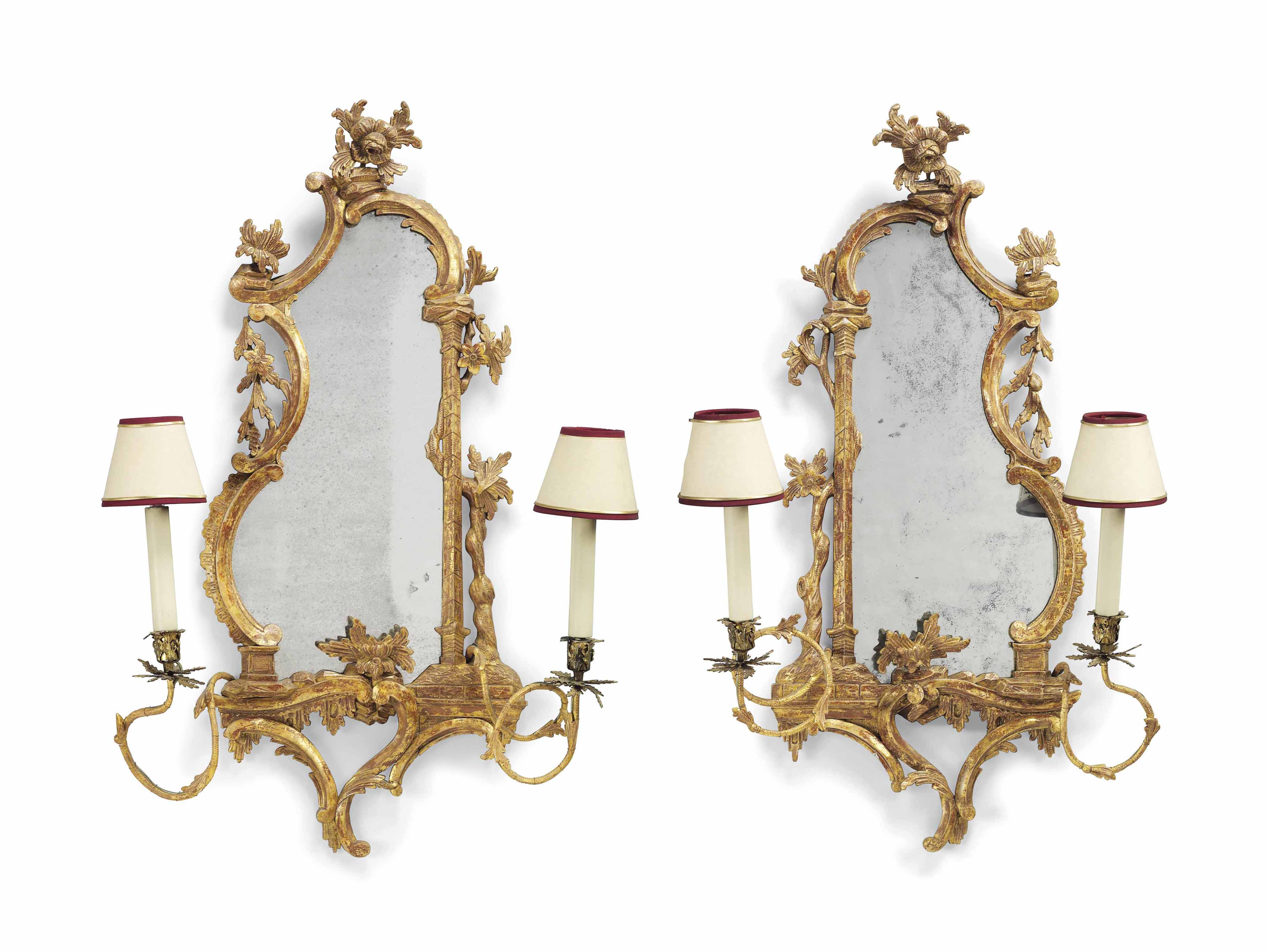 A PAIR OF GEORGE III GILTWOOD TWIN-BRANCH GIRANDOLES