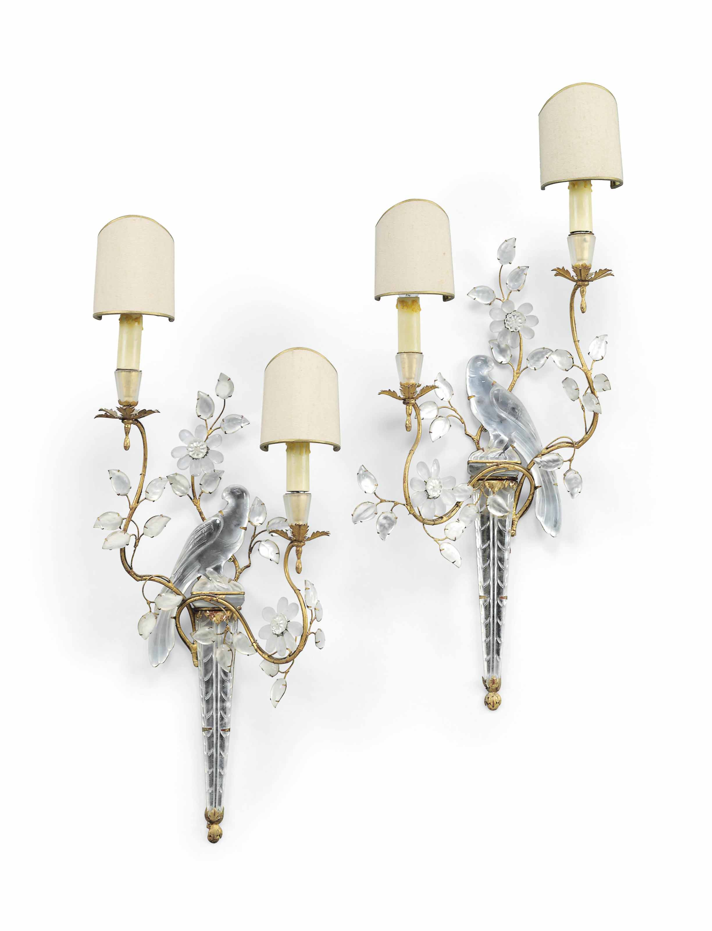 A PAIR OF FRENCH MOULDED AND CUT-GLASS AND GILT-METAL TWIN-BRANCH WALL-LIGHTS
