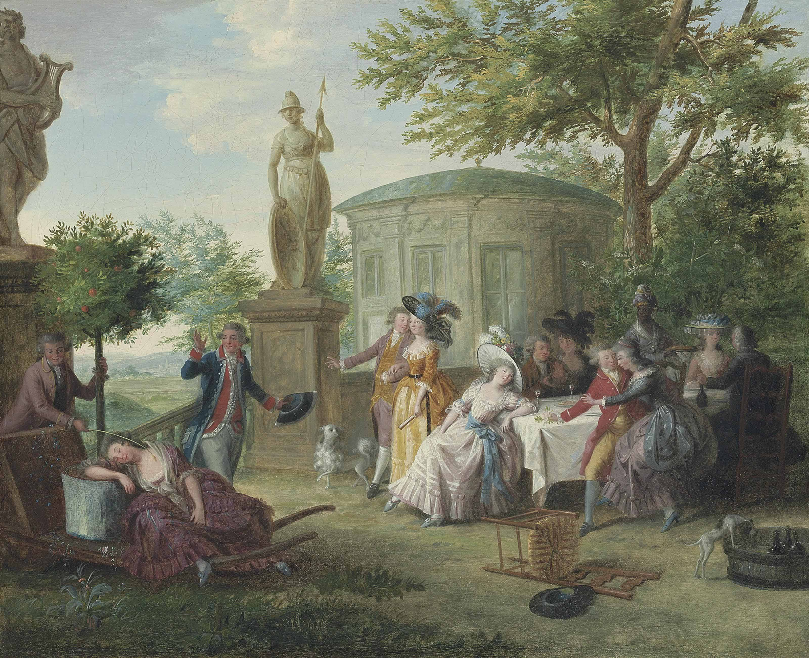 Elegant figures dining in a garden amongst classical sculptures, a rotunda beyond