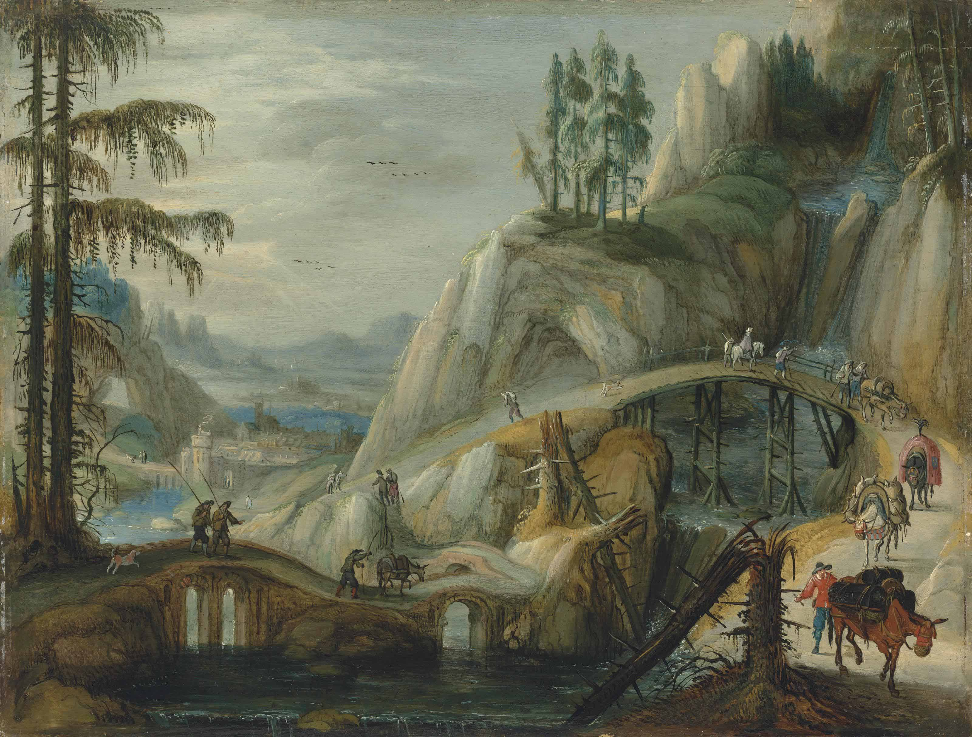 An alpine landscape with travellers and their donkeys on a path