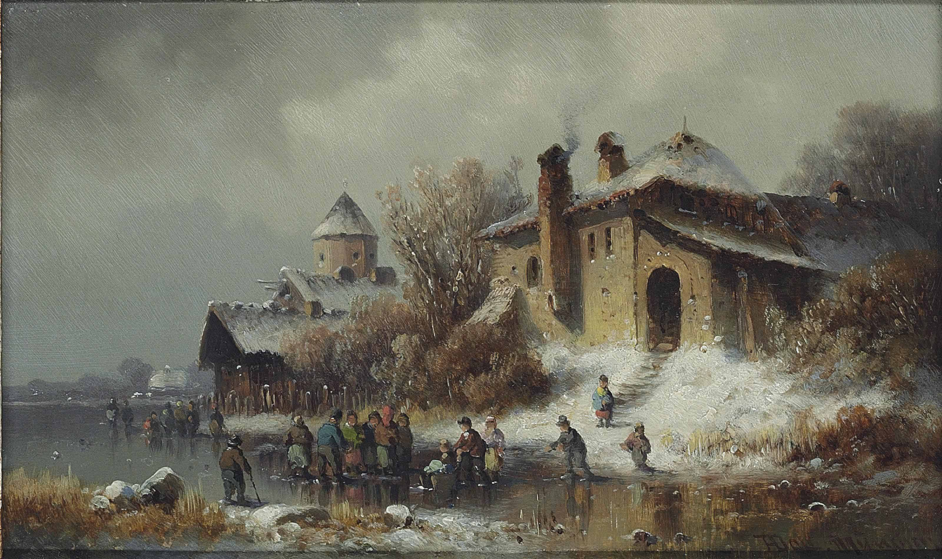 Figures on a frozen river close to a village
