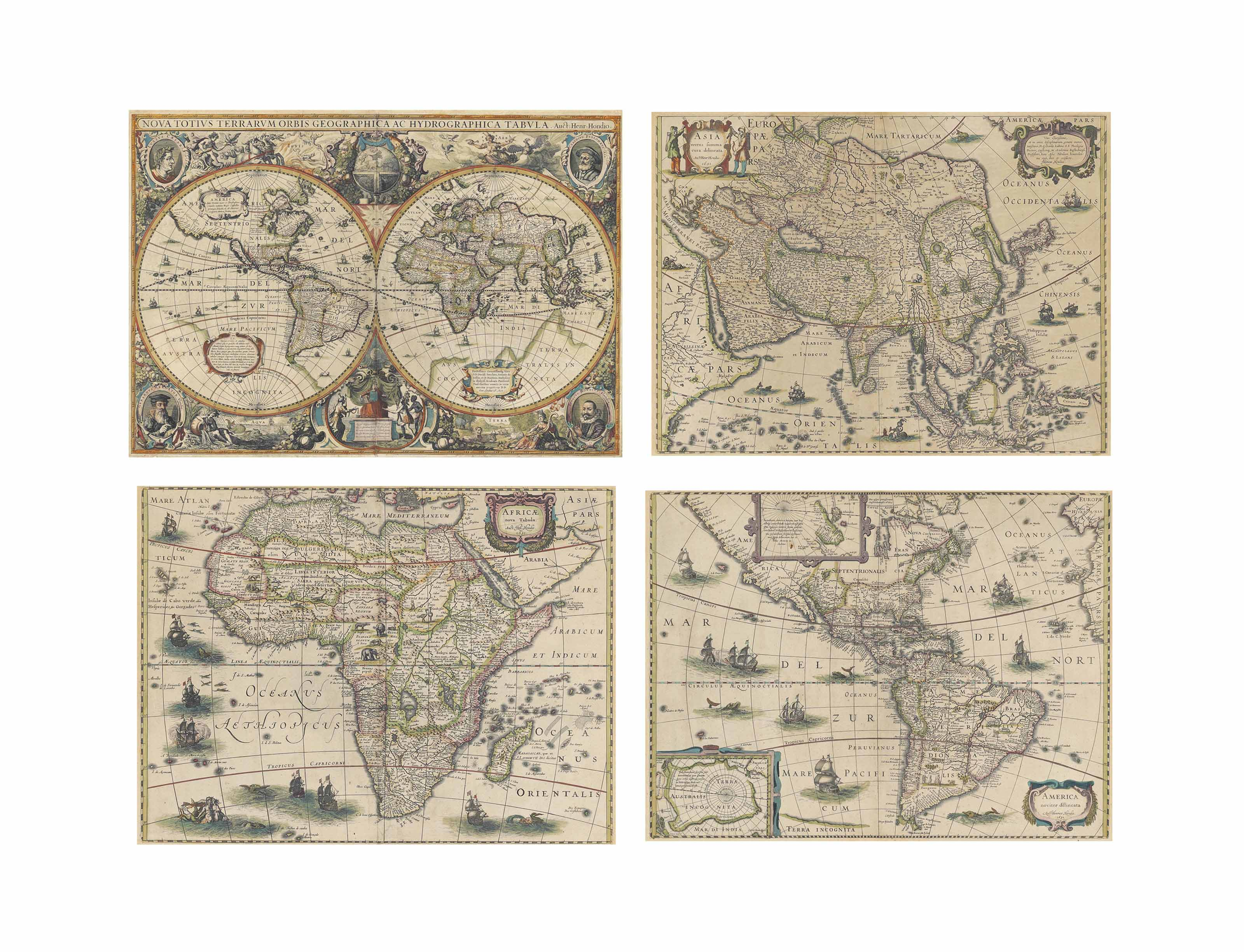 HONDIUS, Henricus (1596/7-1651). [WORLD AND CONTINENTS] -- Nova Totius Terrarum Orbis Geographica ac Hydrographica Tabula. Amsterdam: Johannes Janssonius 1630. Hand-coloured engraved twin hemisphere map of the world (376 x 542mm), embellished with spandral allegorical vignettes representing the four elements and portrait cartouches of Julius Caesar, Claudius Ptolomaeus, Gerard Mercator and Jodocus Hondius at each corner. Shirley 336 'A FINE ORNATE EXAMPLE OF THE DECORATIVE CARTOGRAPHY OF THE TIME'; Van der Krogt I, 0001:1C.1.