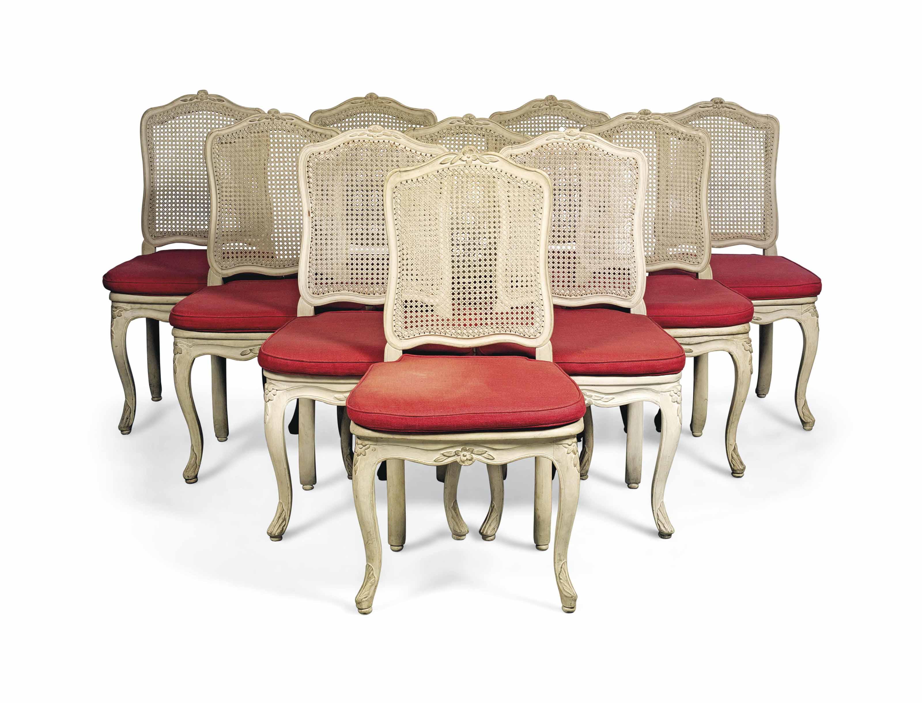A SET OF EIGHT LOUIS XV WHITE-PAINTED CANED CHAISES