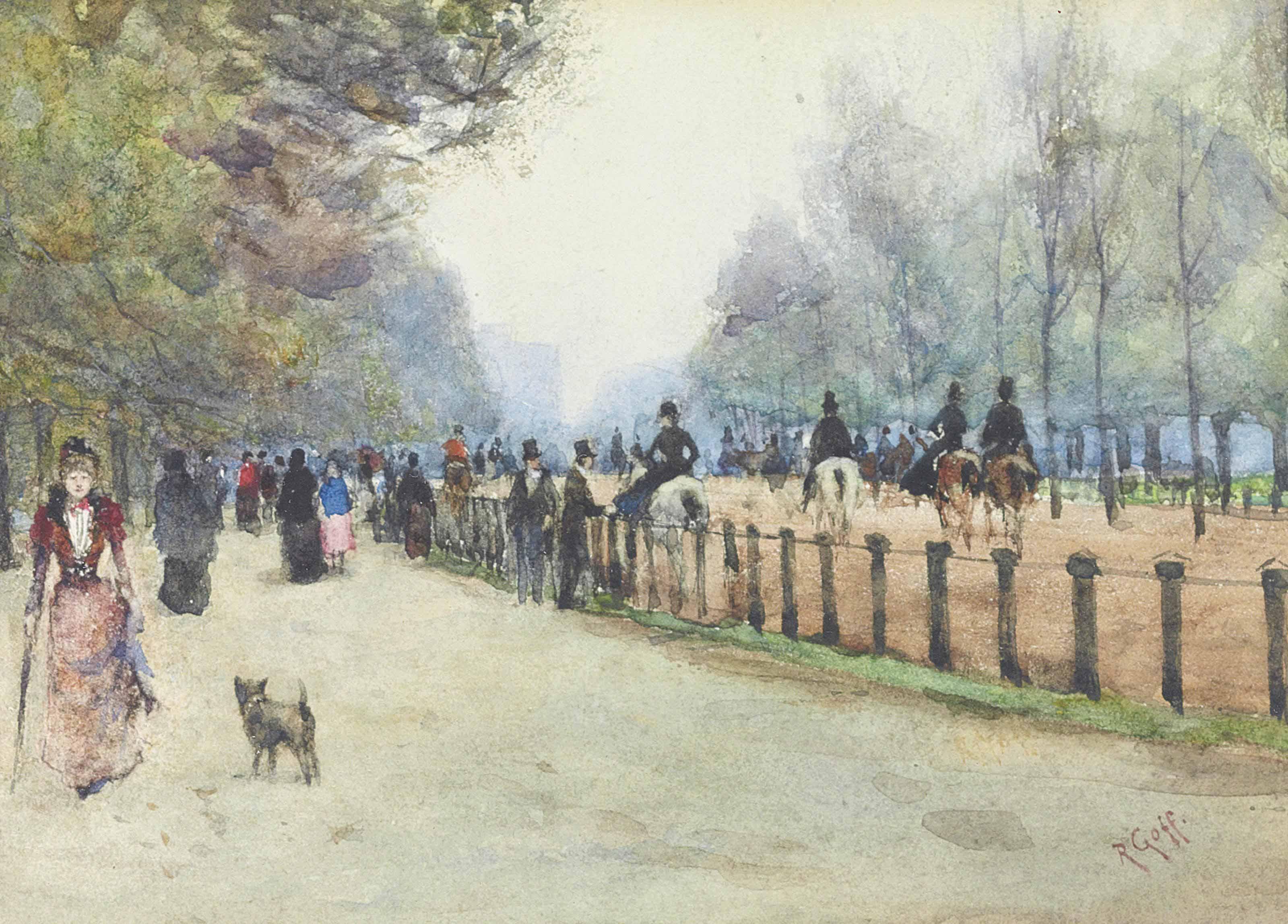 Figures promenading on Rotten Row, Hyde Park, London