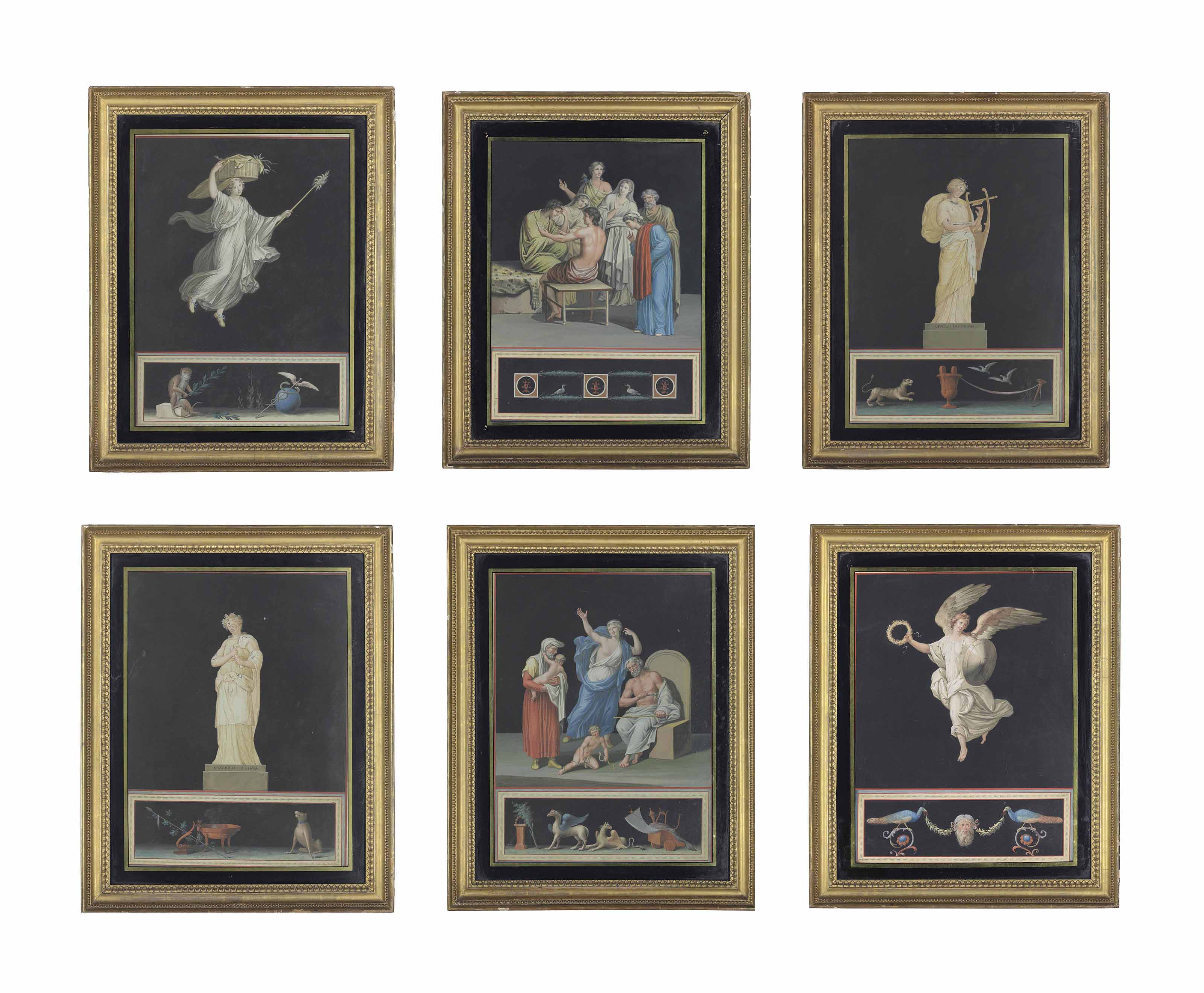 Six Classical and Allegorical scenes including studies of the Muses